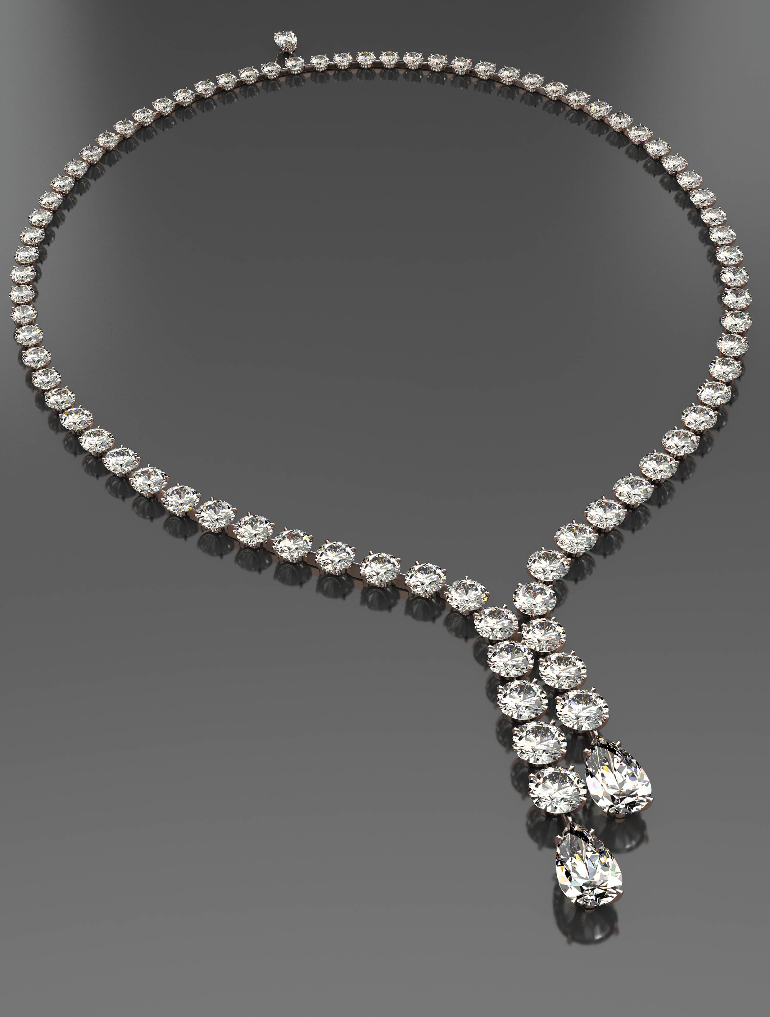 Round and Pearshape Diamond Necklace