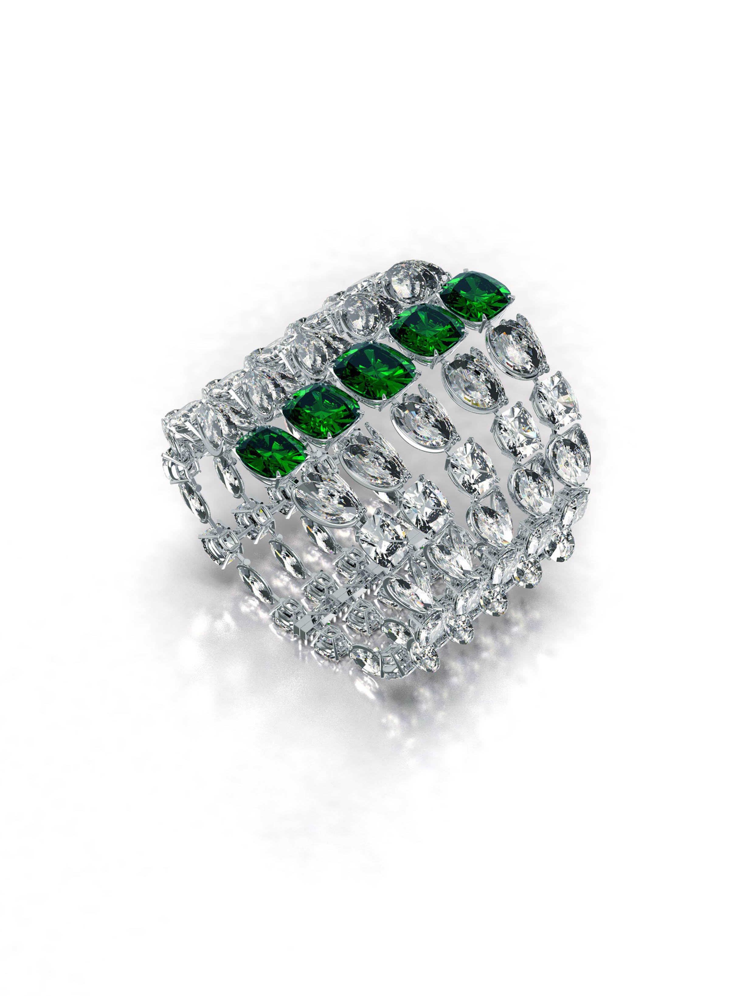 Cushion Emerald and Diamond Cuff