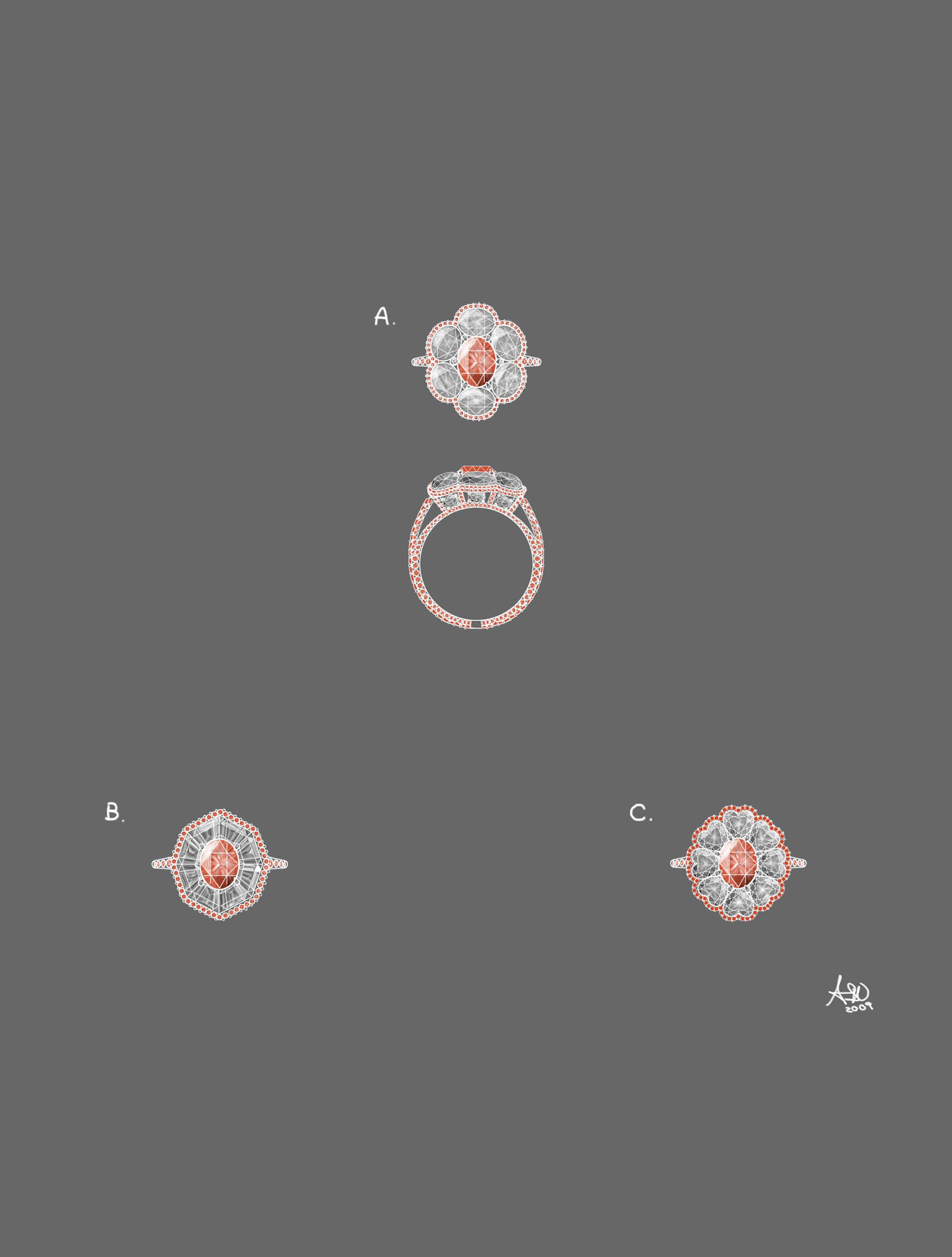 Pink diamond ring design