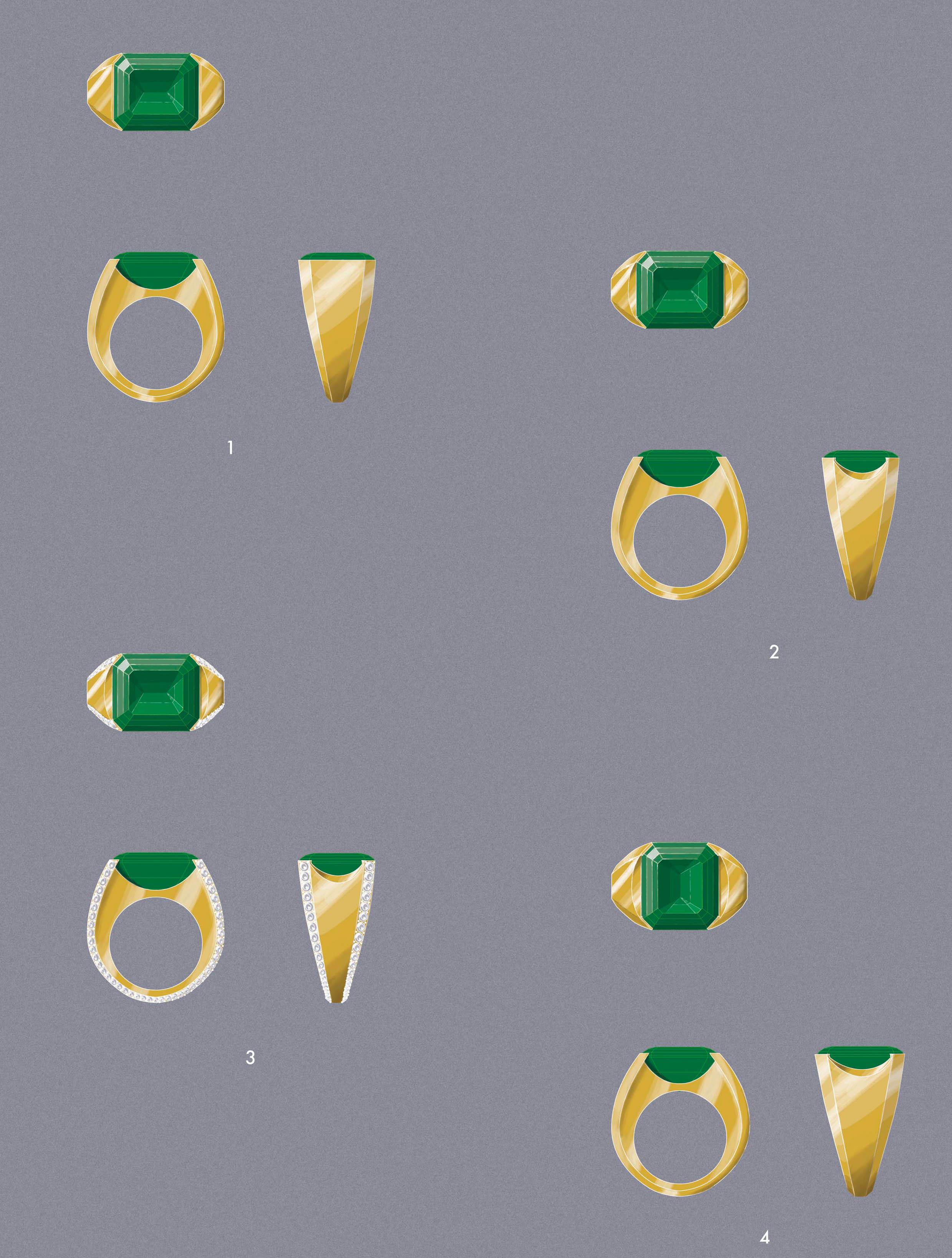 Man's Emerald Cut Emerald Ring Designs