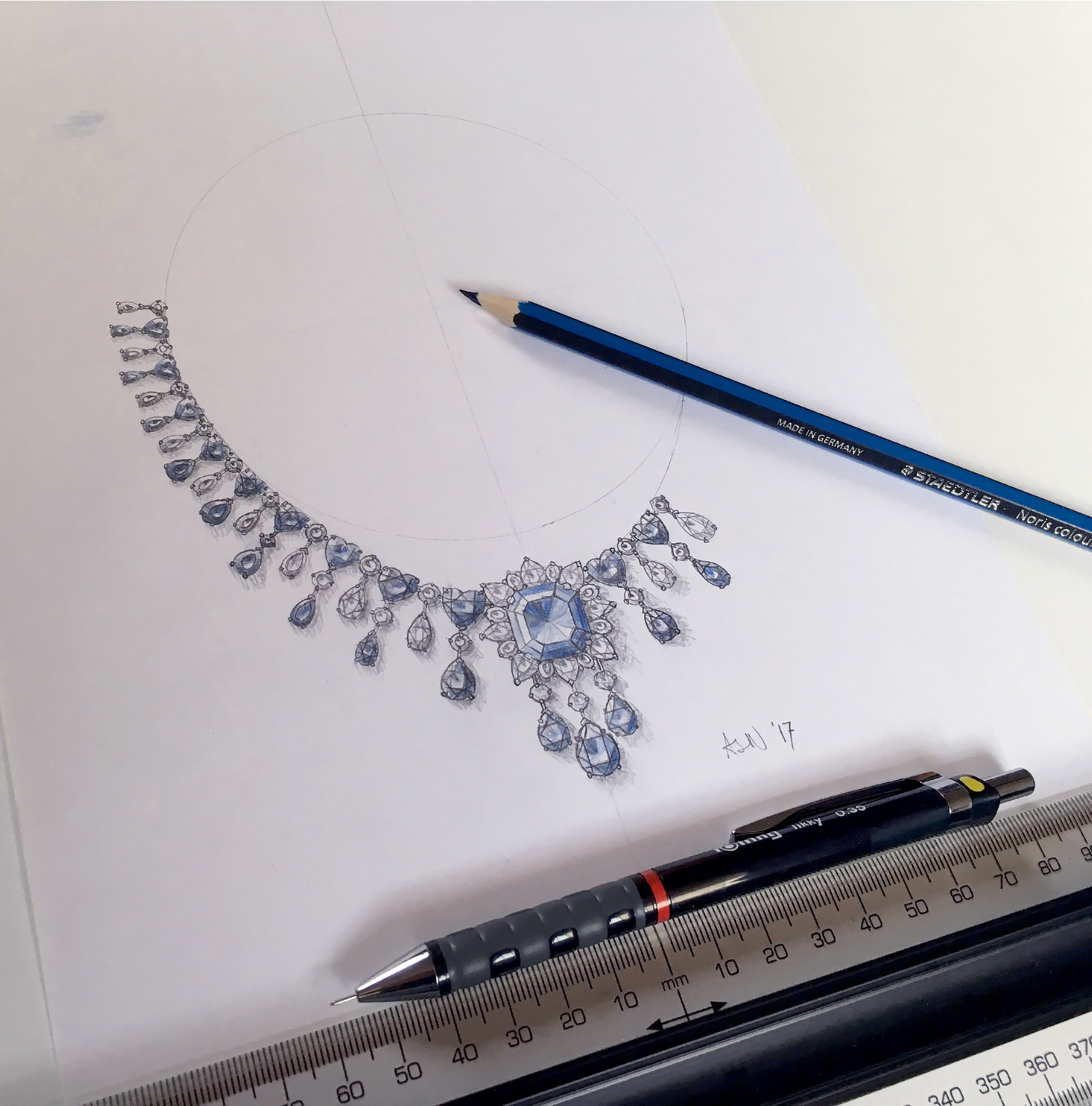 Drawing of a Sapphire and Diamond Necklace