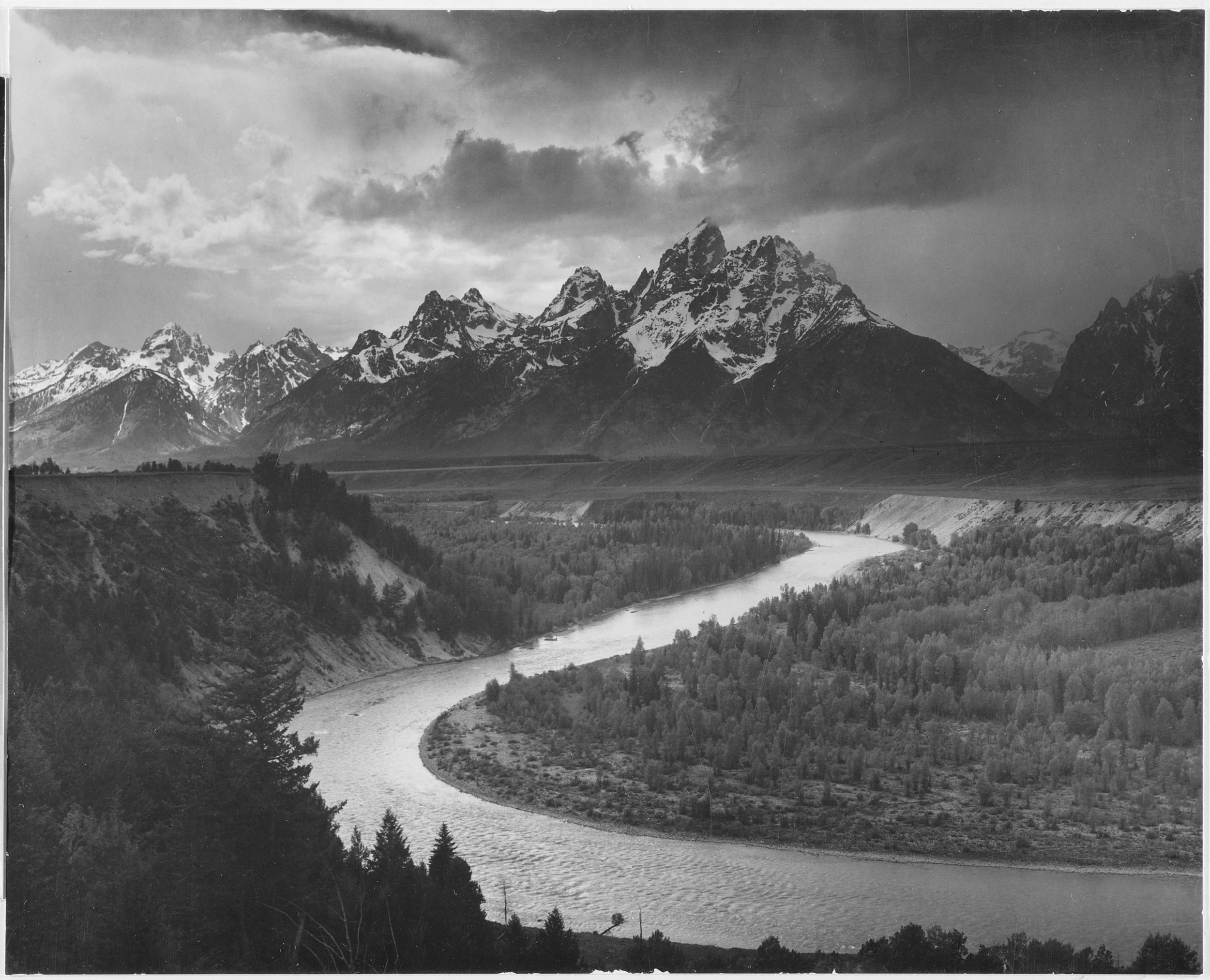 Fig 1. Ansel Adams, Tetons and Snake River, 1948. Silver Gelatin Print.