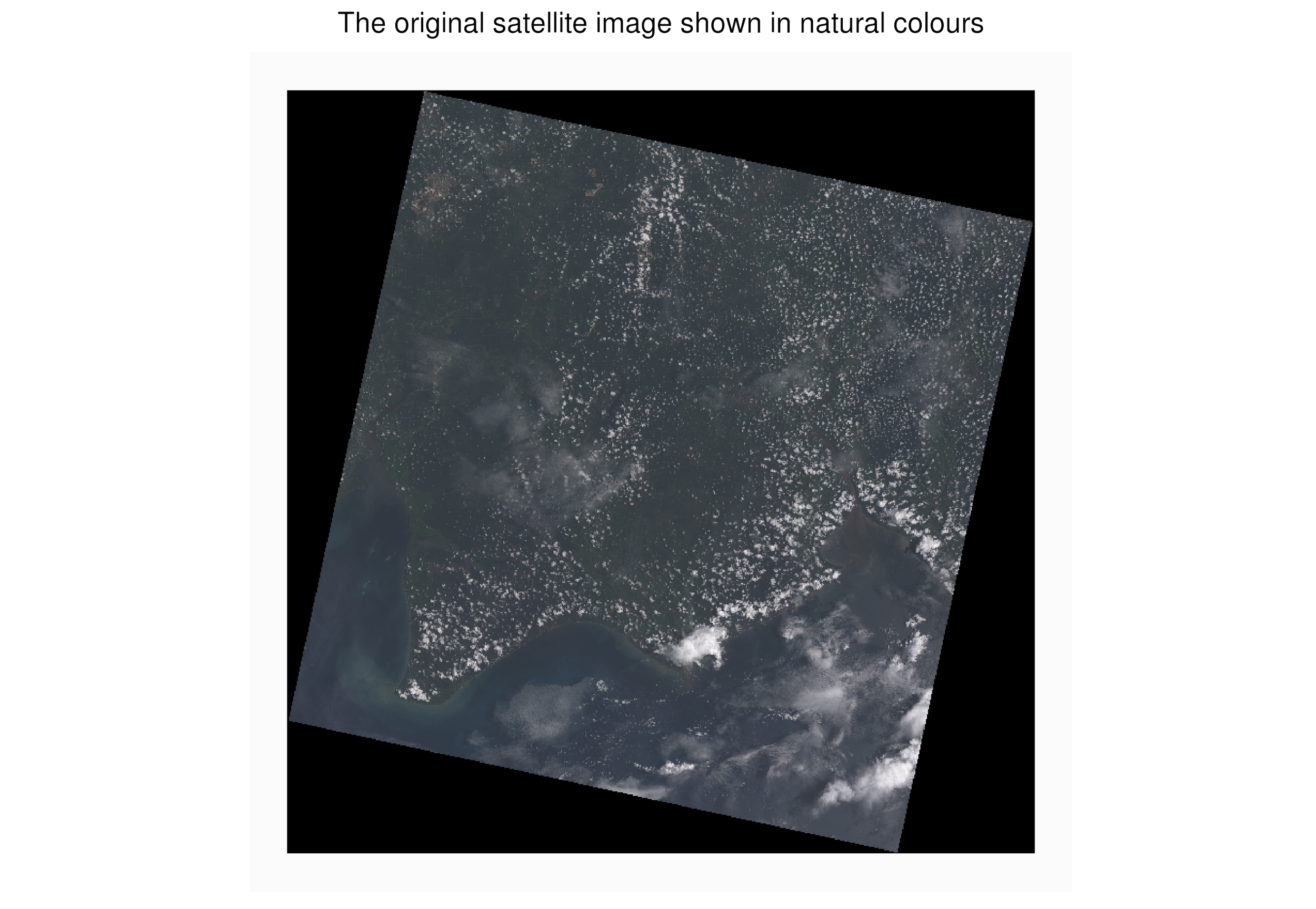 This is the original image downloaded from Earth Explorer. The clouds on the image make classification of the ground more difficult.