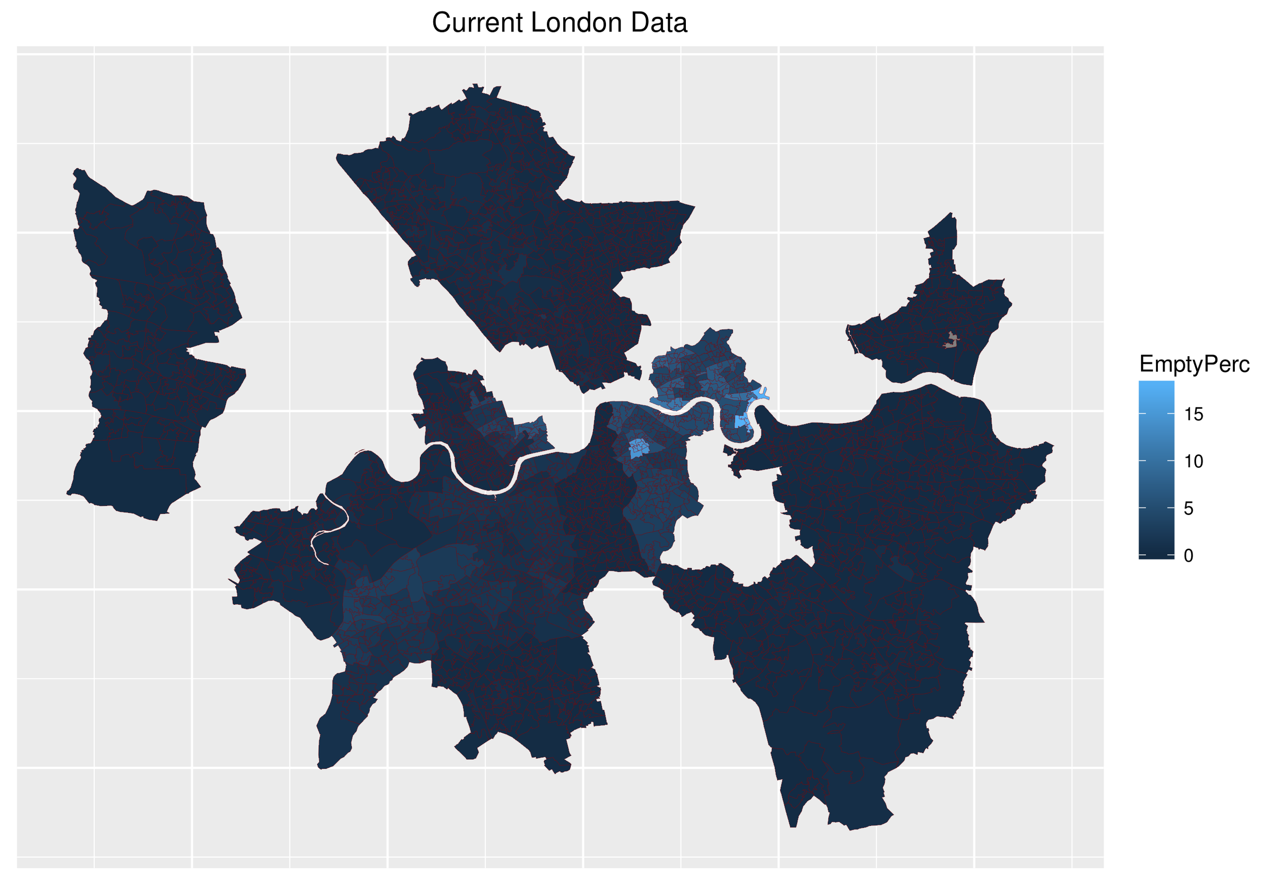 This figure shows the current state of data from the London Boroughs.