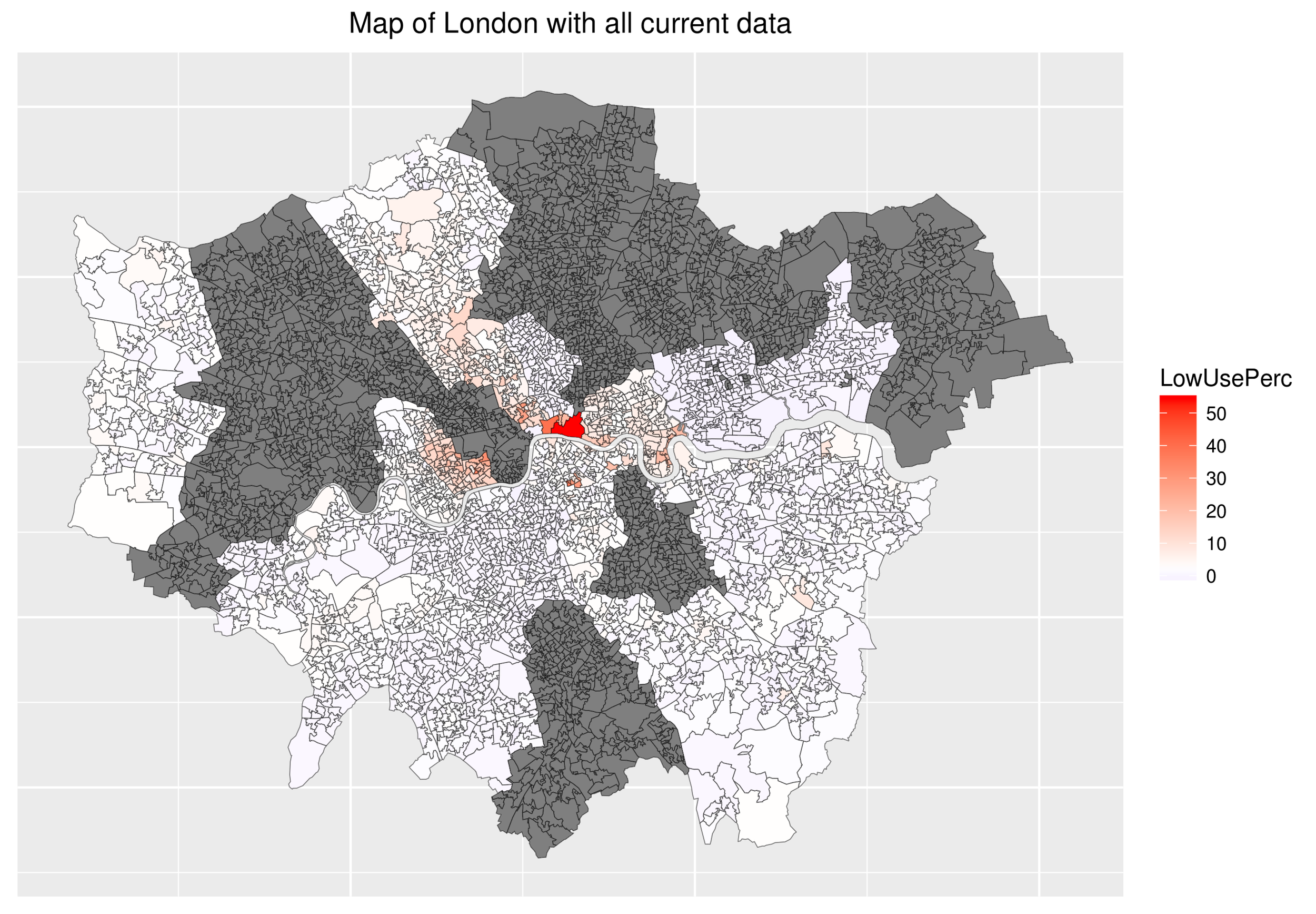 The areas of central London just north of the river have the most low-use  property, with the City of London and Chelsea being particularly obvious. Dark grey areas are for boroughs for which data has not been received.