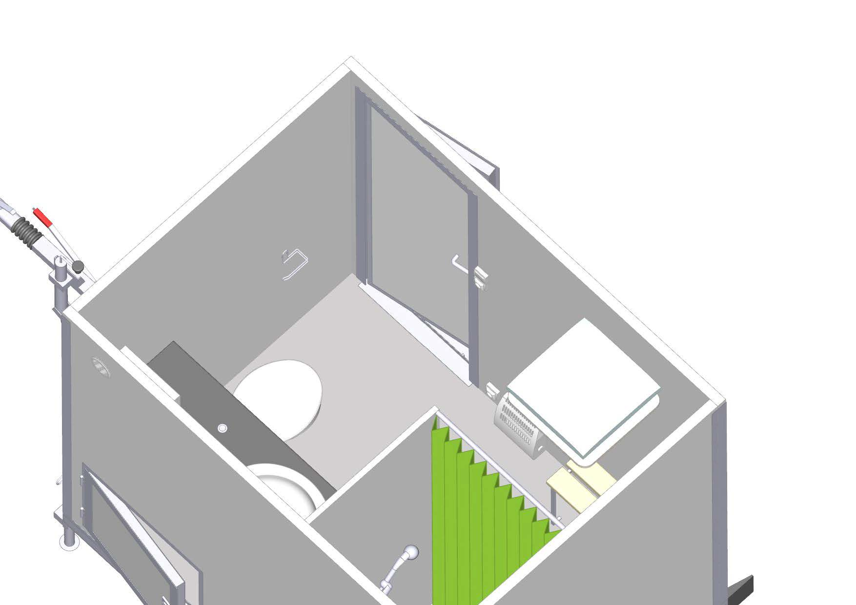 Bovenaanzicht - mobiele badkamer