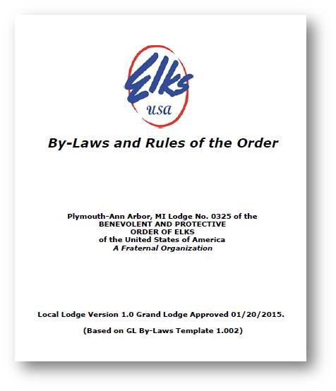 Click on this picture to view or print our bylaws Dated 1/20/2015