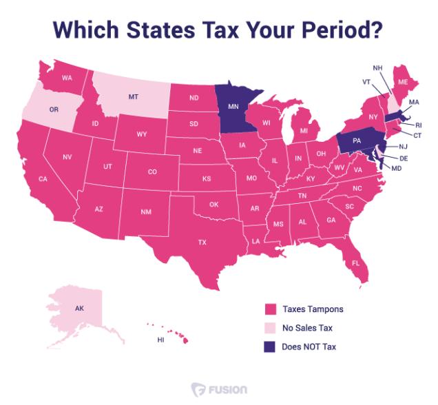 "June 2015 ""tampon tax"" map / Splinter News"