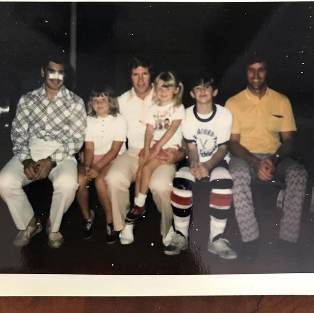 #LGB #stlouisblues #doyoubleedblue  Circa 1972 😳  Our family has bleeding blue for decades. 💙And here's some proof.  Barklay Plager, Gary Sabourin, and Frank St. Marseille. Talk about St. Louis Blues history sitting there.  And that's me on Gary Saboubrin's lap...almost 4 yrs old there.  So let's bring home the #StanleyCup  Game 2 tonight. #LetsGoBlues