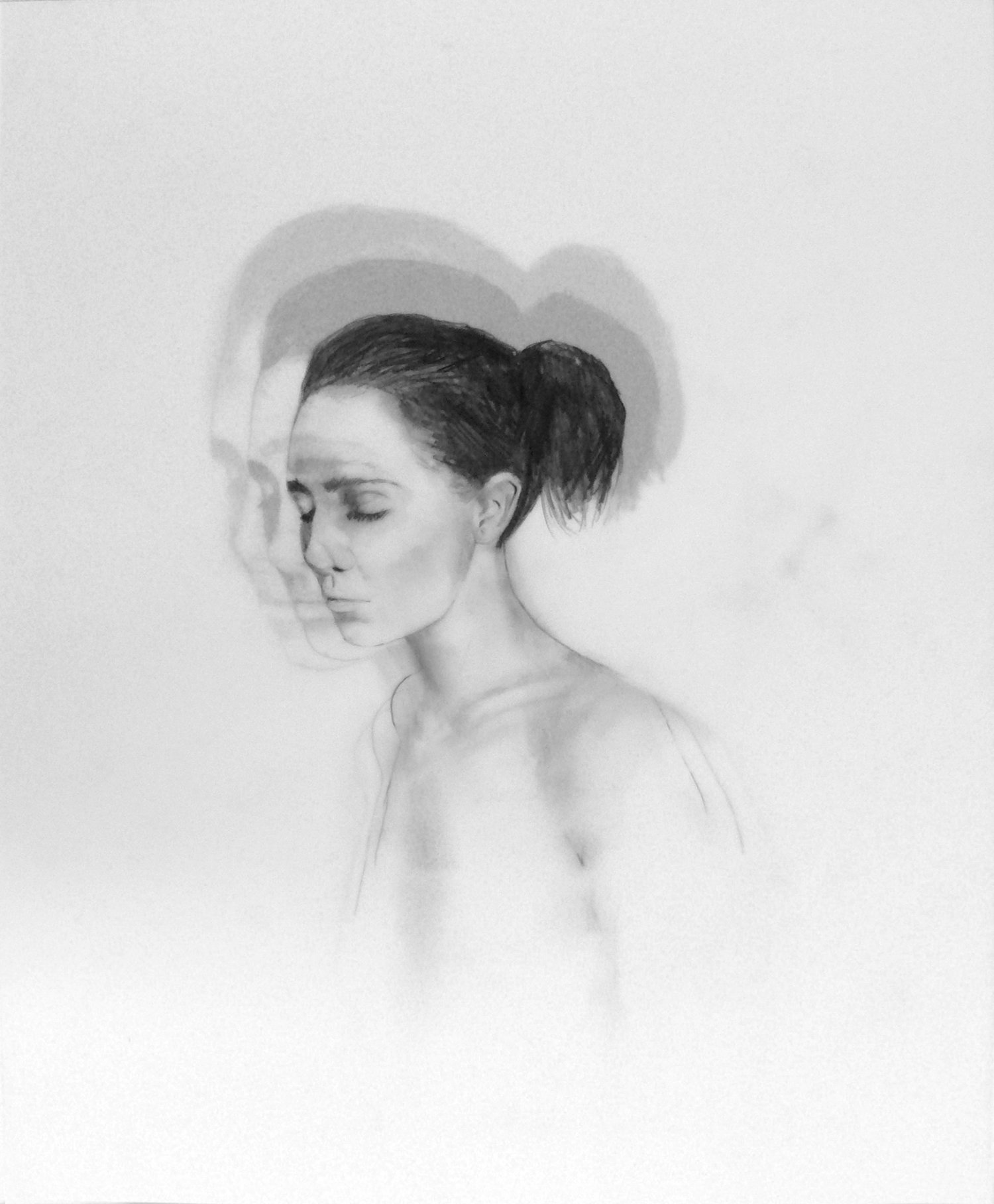 "Expanding Into Infinity (Me)  Graphite on duralar, 9 x 11"" 2013"