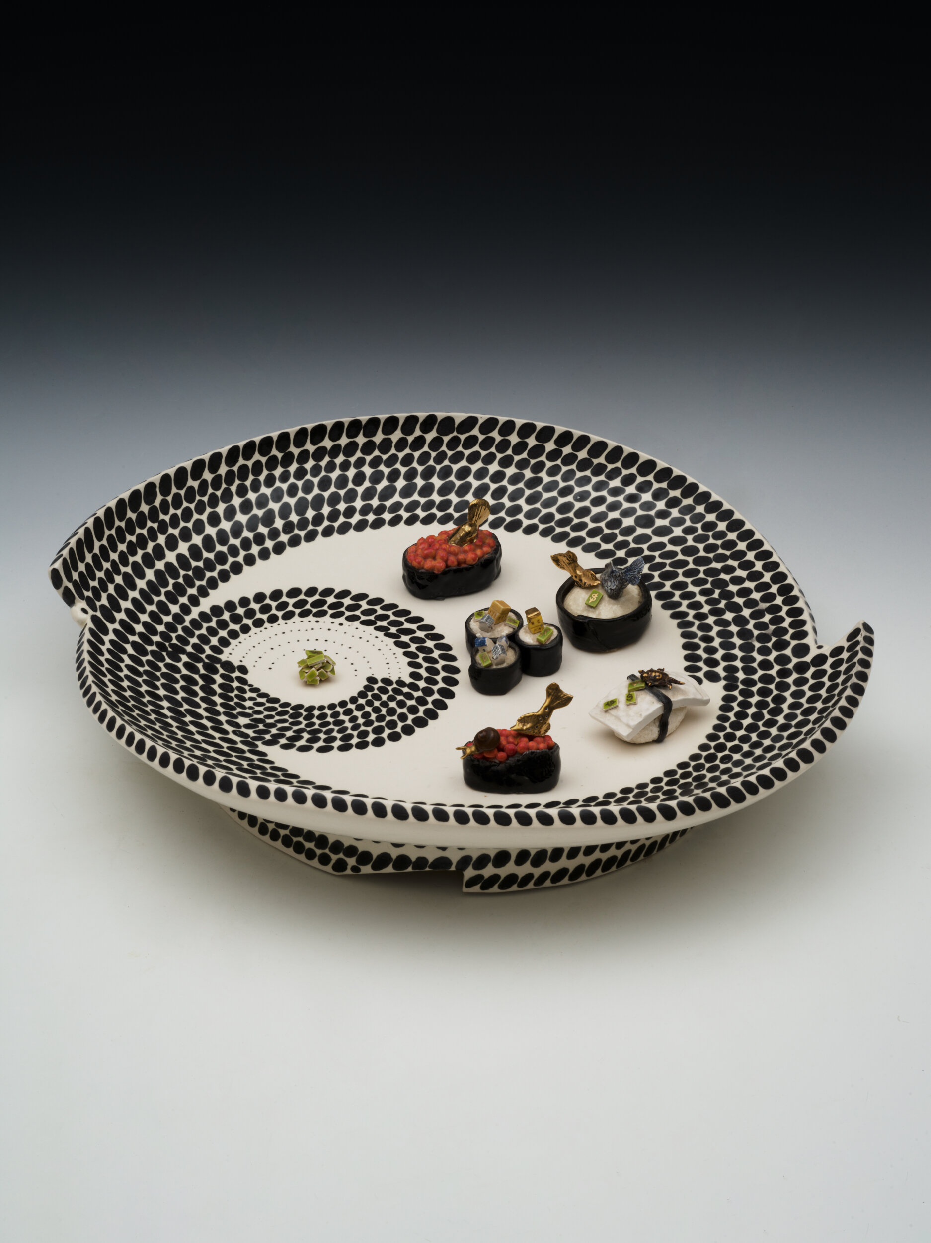 Mimbre and Pattern Painting Inspired, Sushi Plate