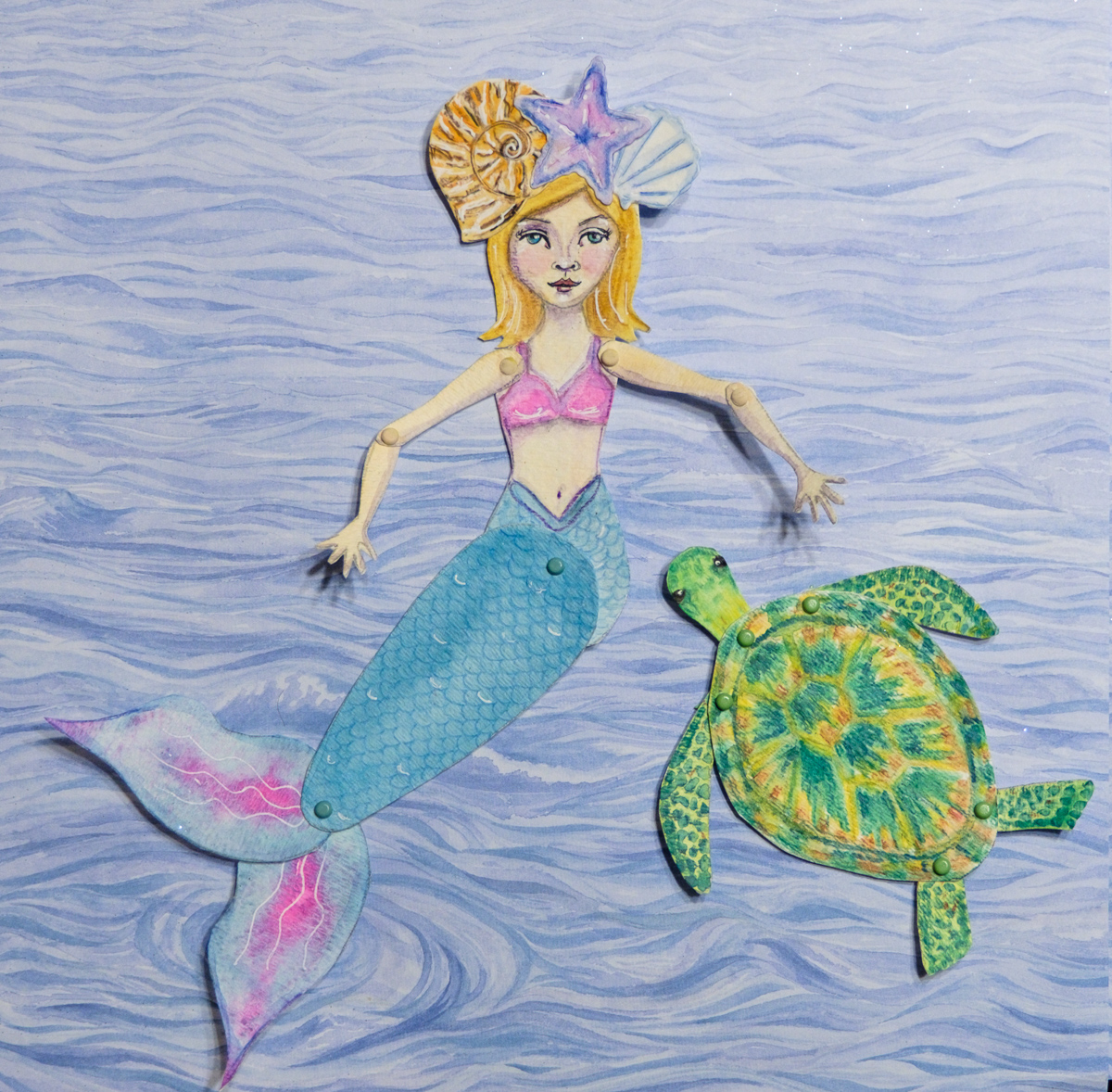 Jane the Mermaid and her turtle Paperdoll
