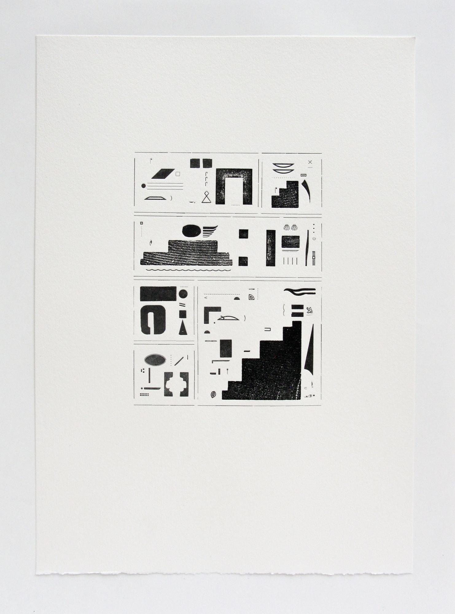 Hieroglyphic Silence II, letterpress, 2017