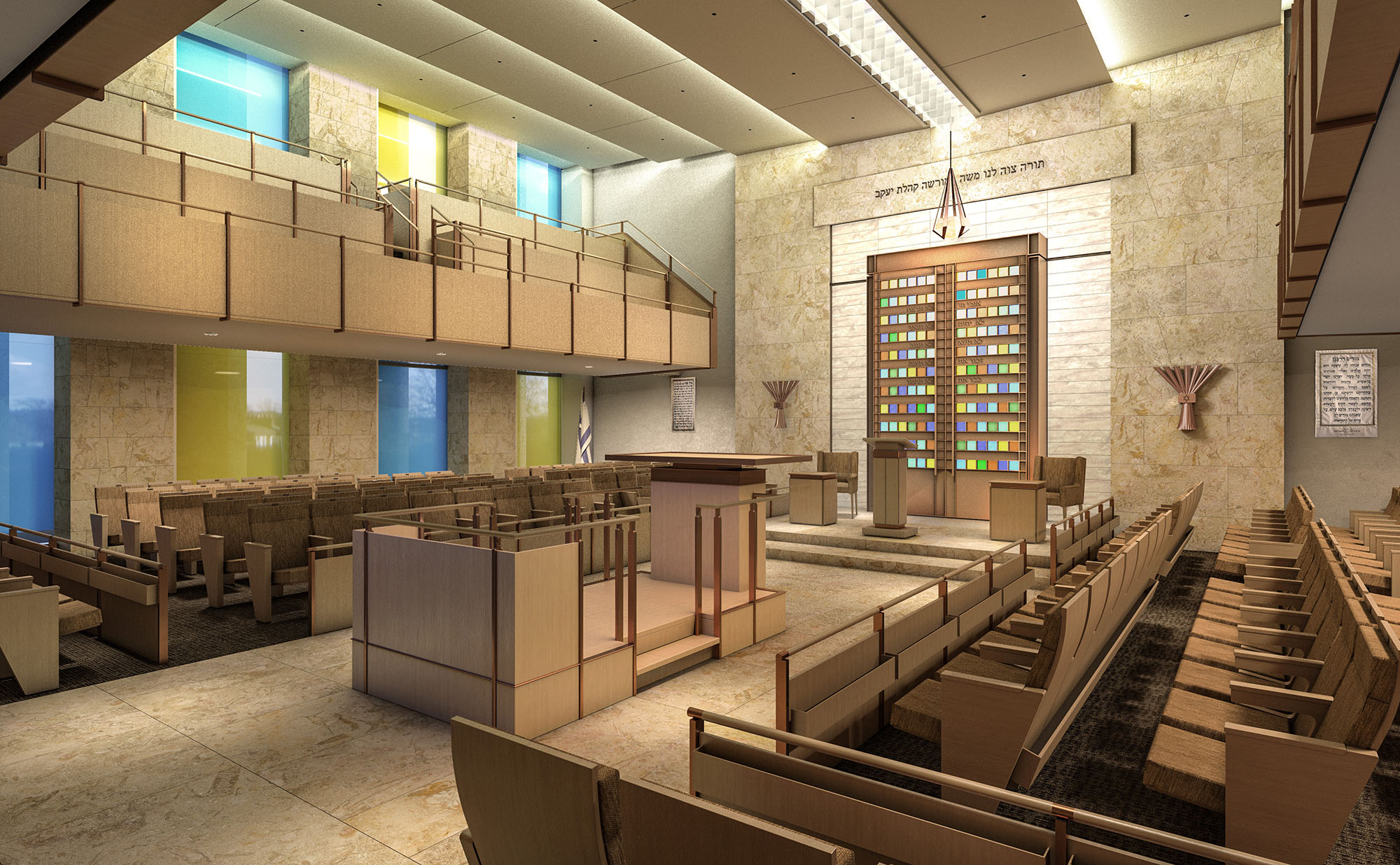 Interior view of the synagogue on the second floor.