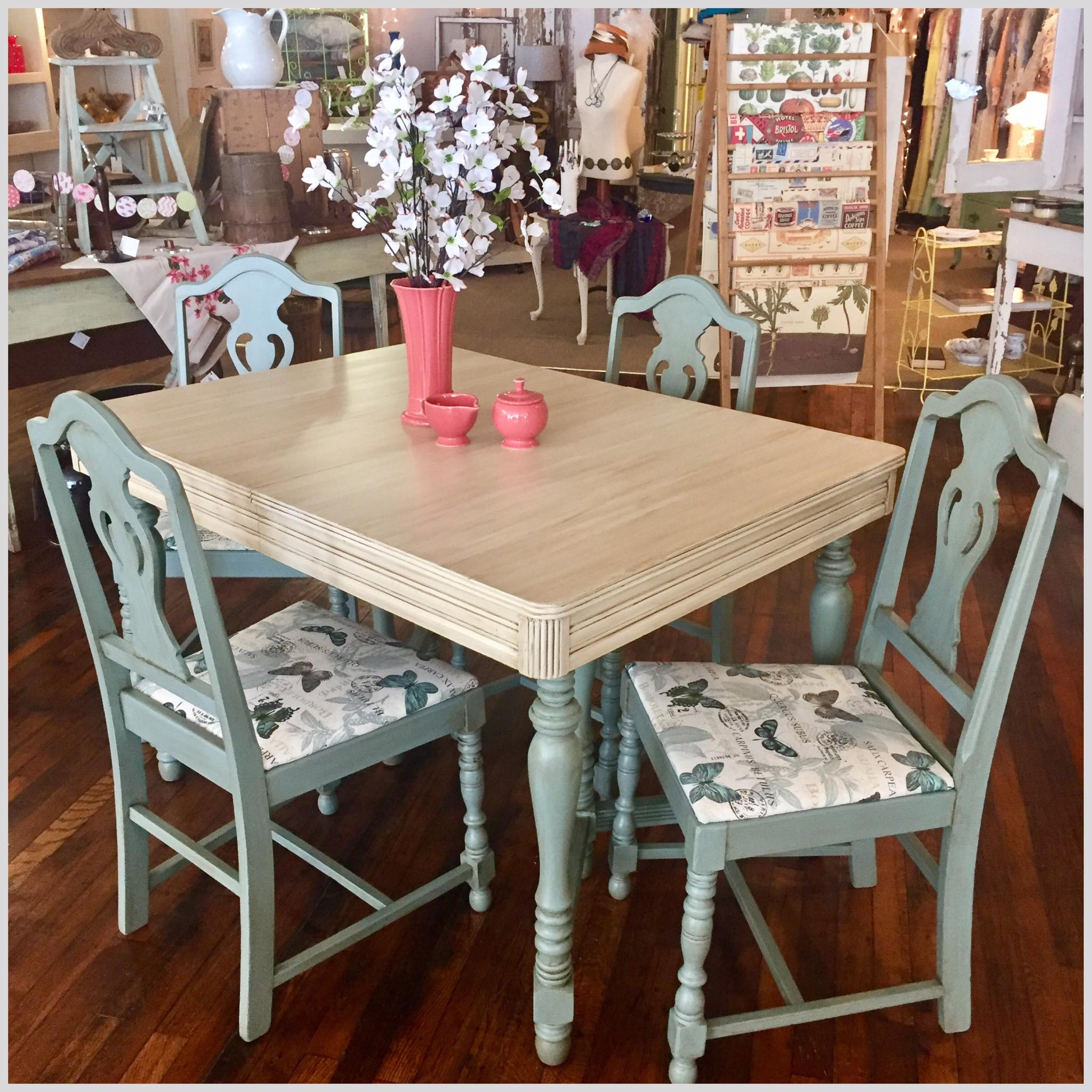 Dining table and chairs finished in Drop Cloth and Vintage Duck Egg with Van Dyke Brown Glaze
