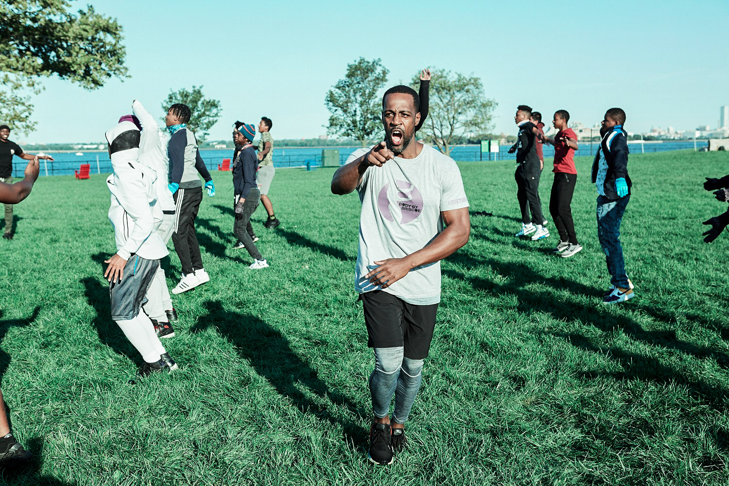 Marlon Briscoe conducts an outdoor bootcamp session