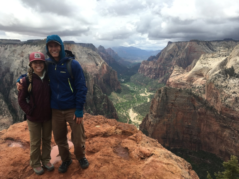 Becca and Kyle on a rainy trip to Zion National Park
