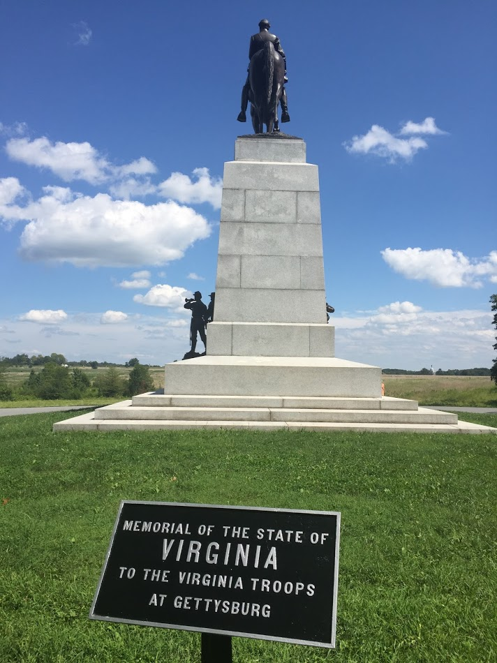 """The Virginia Memorial; beyond, the large open field where """"Pickett's Charge"""" took place."""