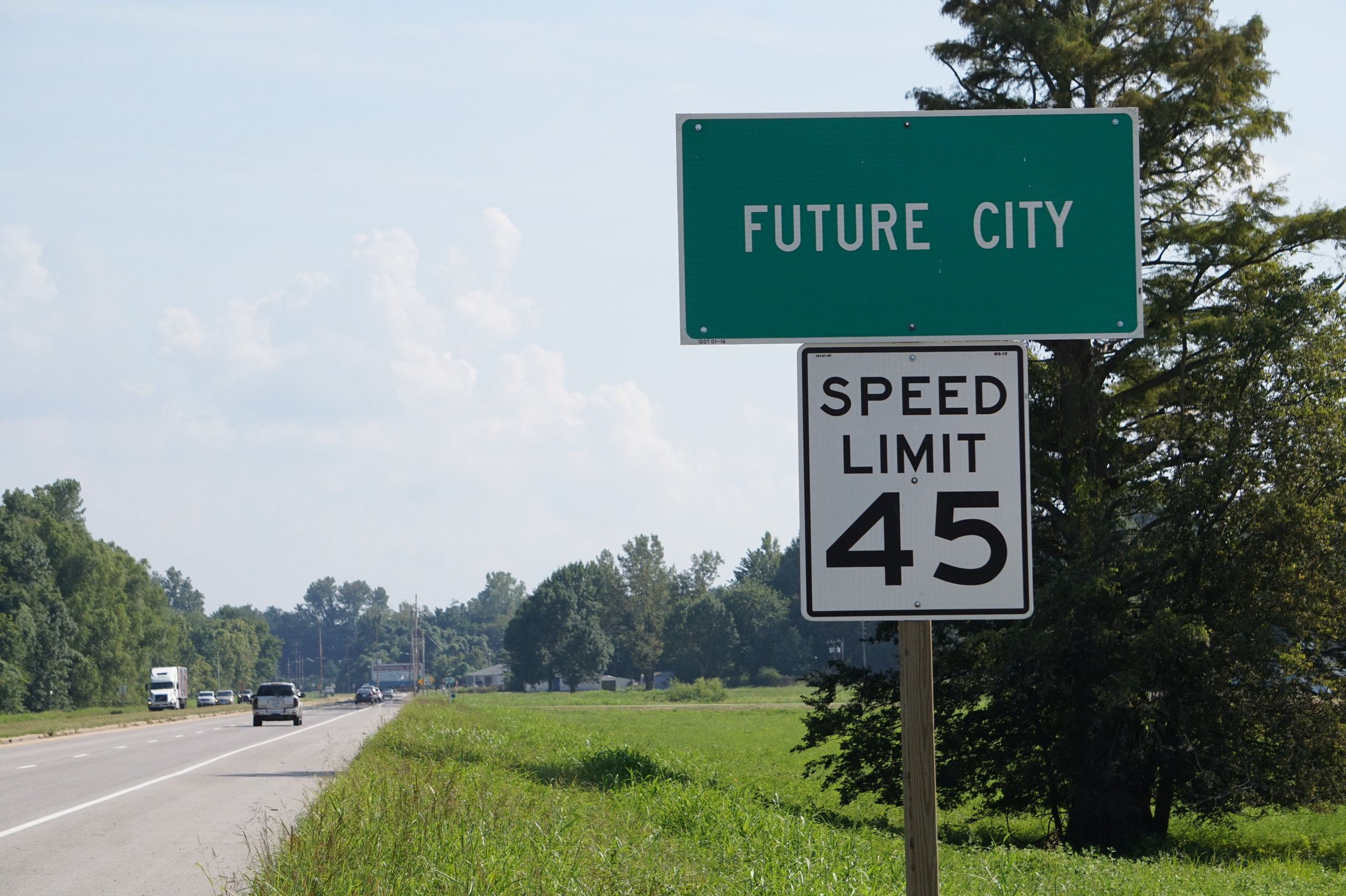 The Future City marker on US 51 approaching Cairo, IL.