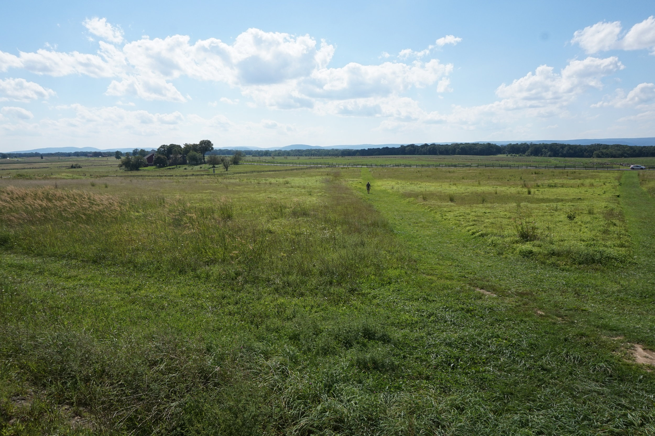 The open field crossed by 12,500 Confederate soldiers during Pickett's Charge.