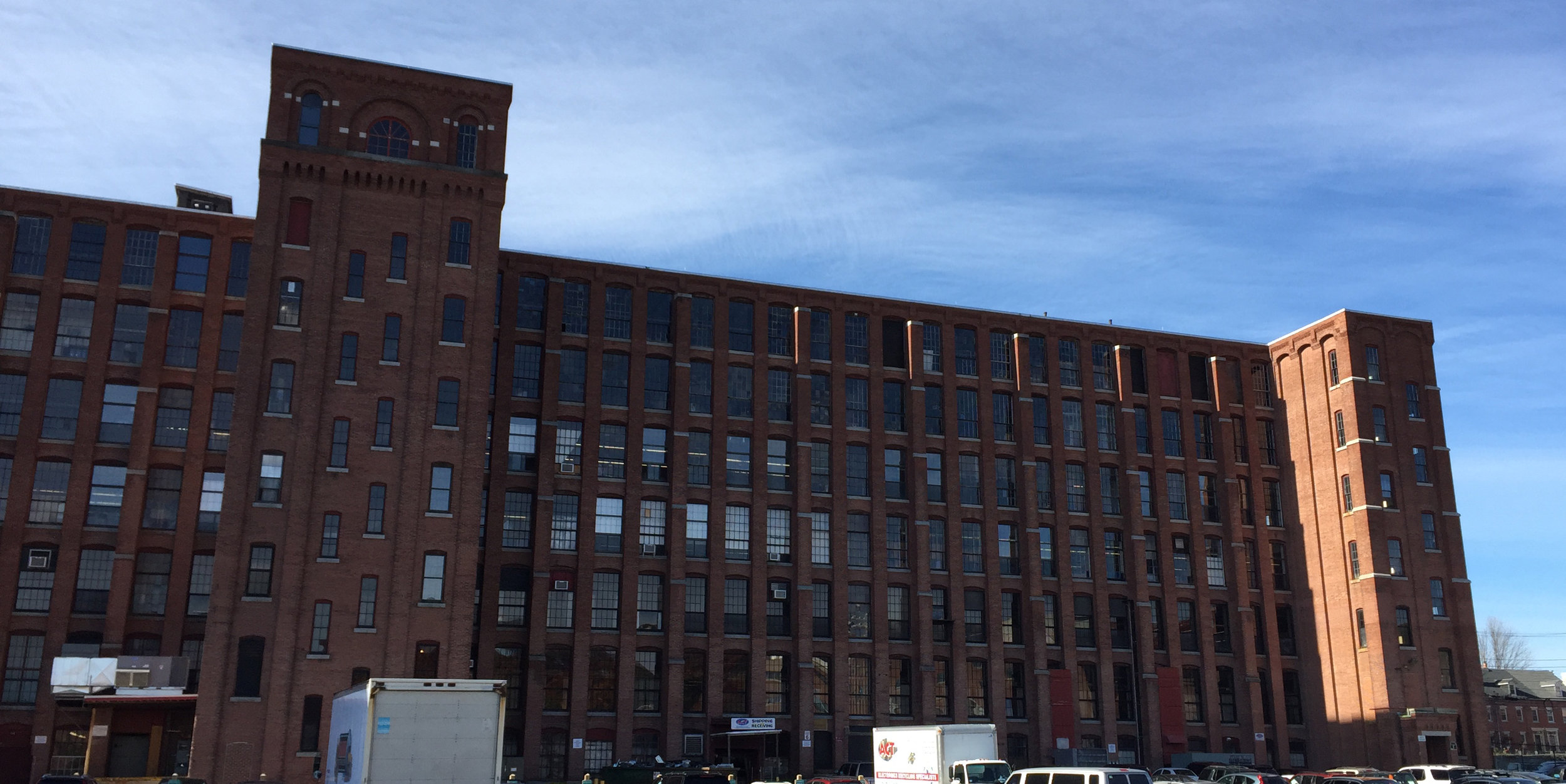 Everett Mills in Lawrence, MA, the former textile mill that's now home to 99Degrees. Photo by Wade Roush.