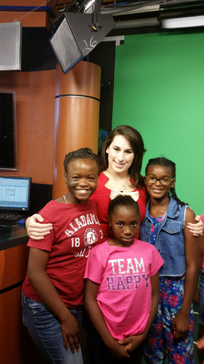 KYNLEE (PICTURED FAR RIGHT) MEETS WSFA METEOROLOGISTS, AMANDA CURRAN, AT THE STUDIO DURING SUMMER 2015