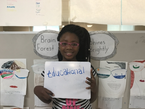 Shiquita participating in a video project for Brain Forest Summer Academy 2017.