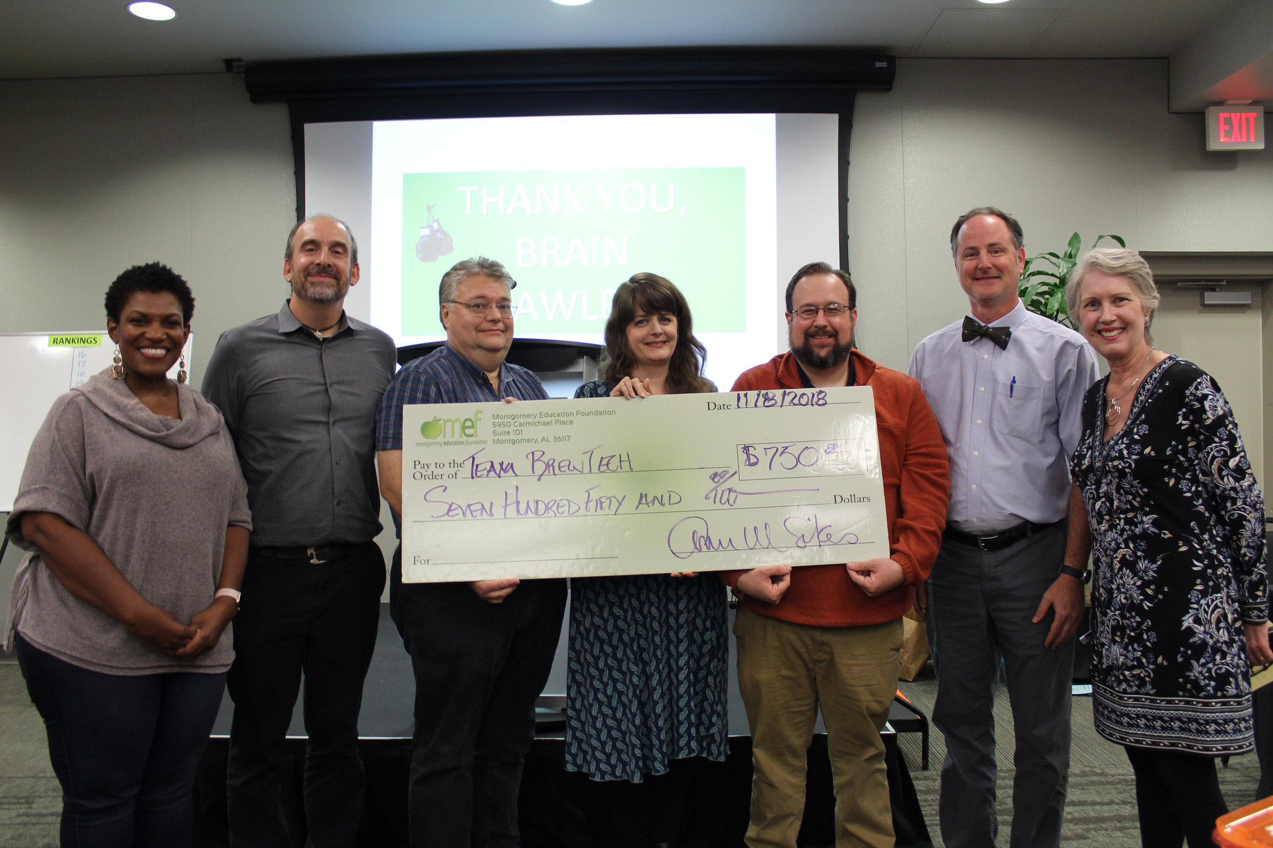 Third Place-  Team Brew Tech, competing on the behalf of Brewbaker Technology Magnet, won $750.
