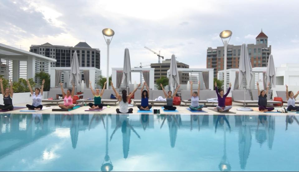 Rooftop Yoga at Art Ovation Hotel.