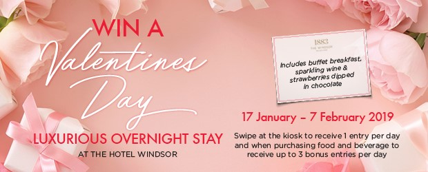 Congratulations to the lucky winner of our Valentine's Day stay at the Hotel Windsor, GRAEME CLARK!