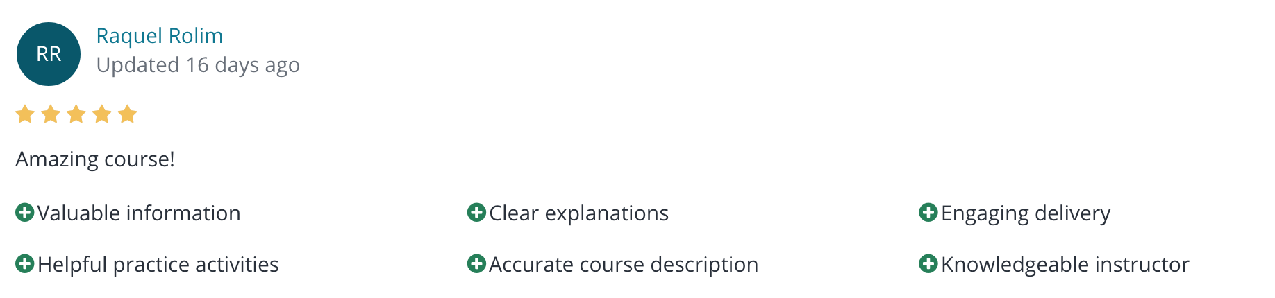 Feedback from our online training student