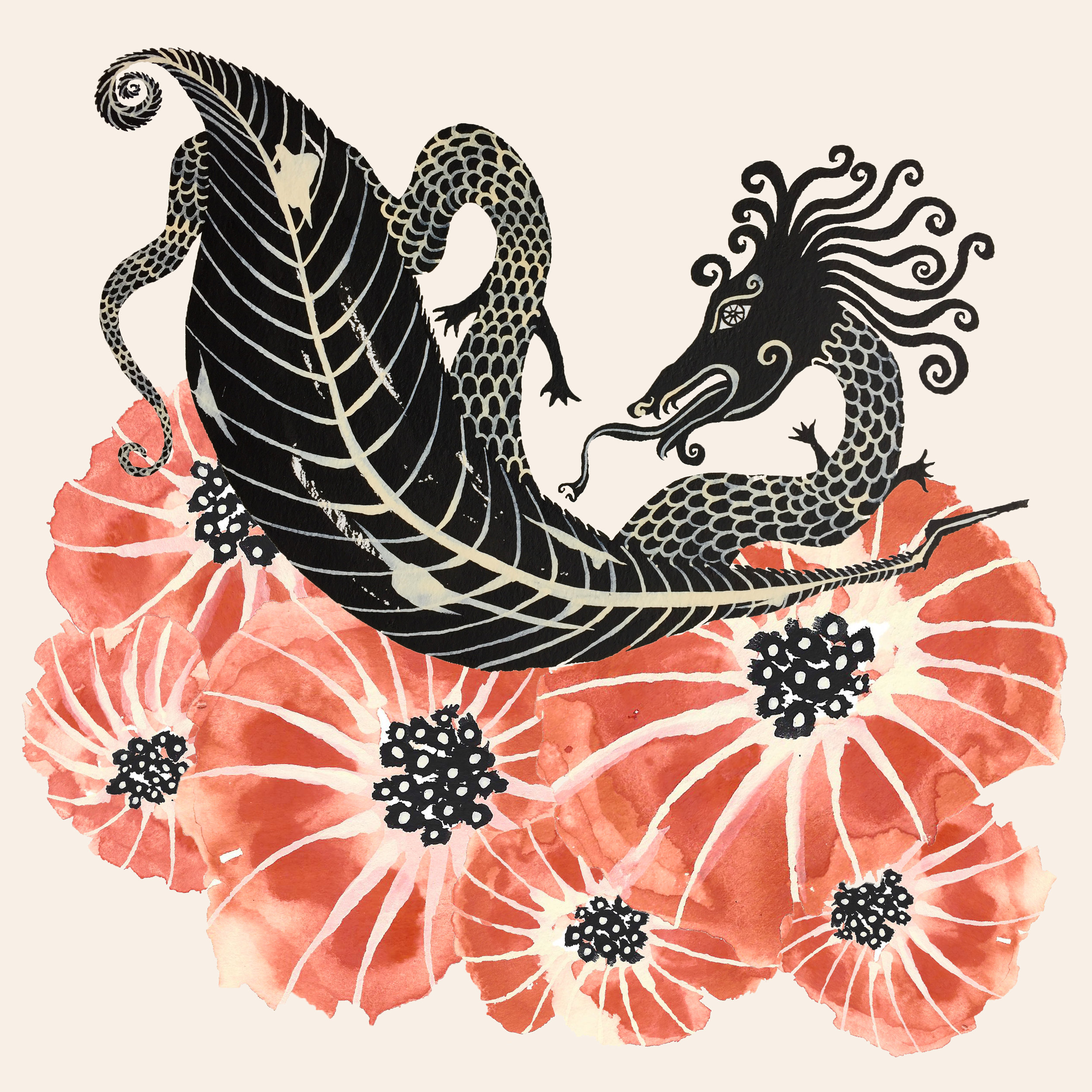 dragon, leaf, and poppies_port.jpg
