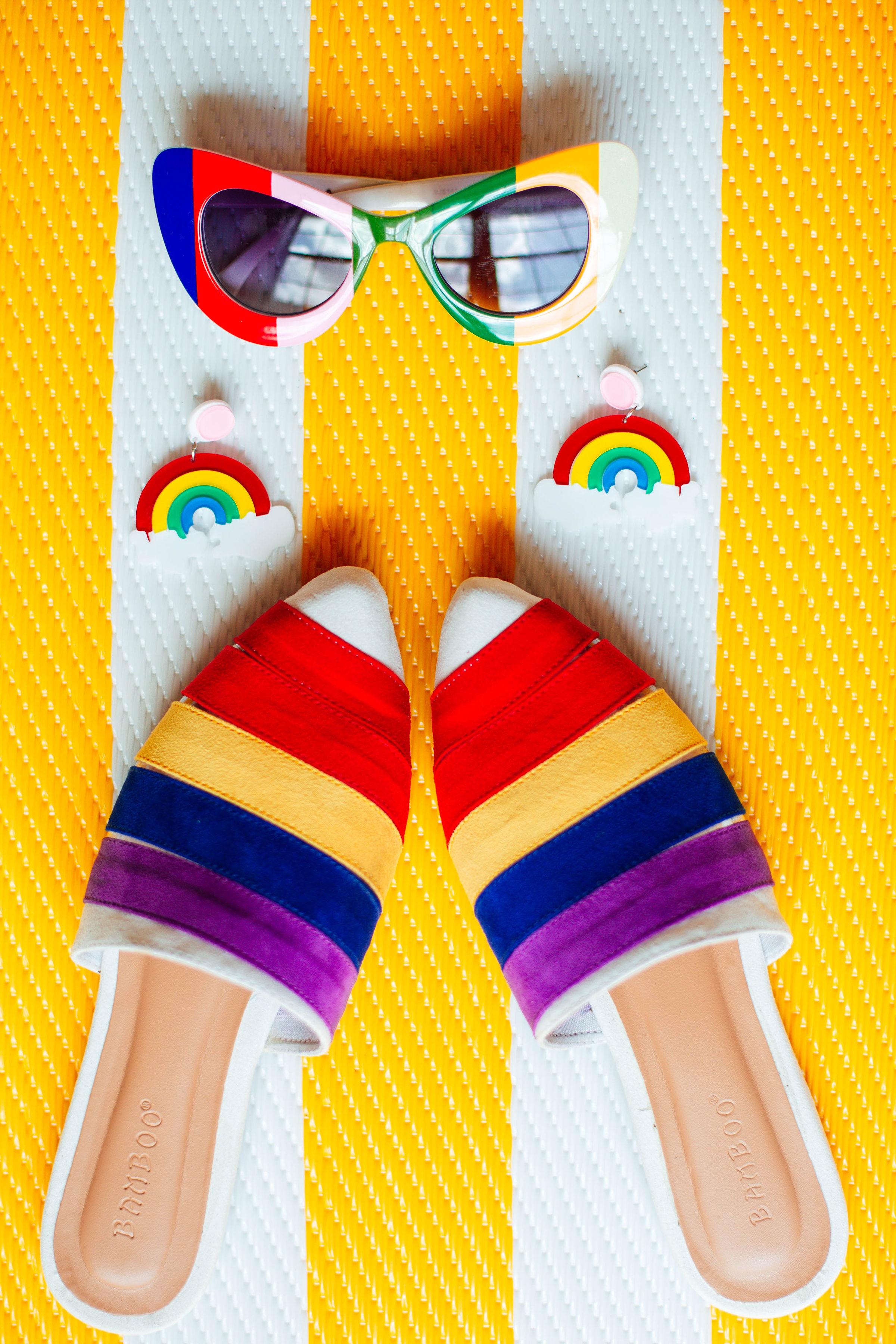 Items:  Rainbow Retro Sunnies ;  Somewhere Over the Rainbow Earrings ;  Flat Out Rainbow Pointed Flats