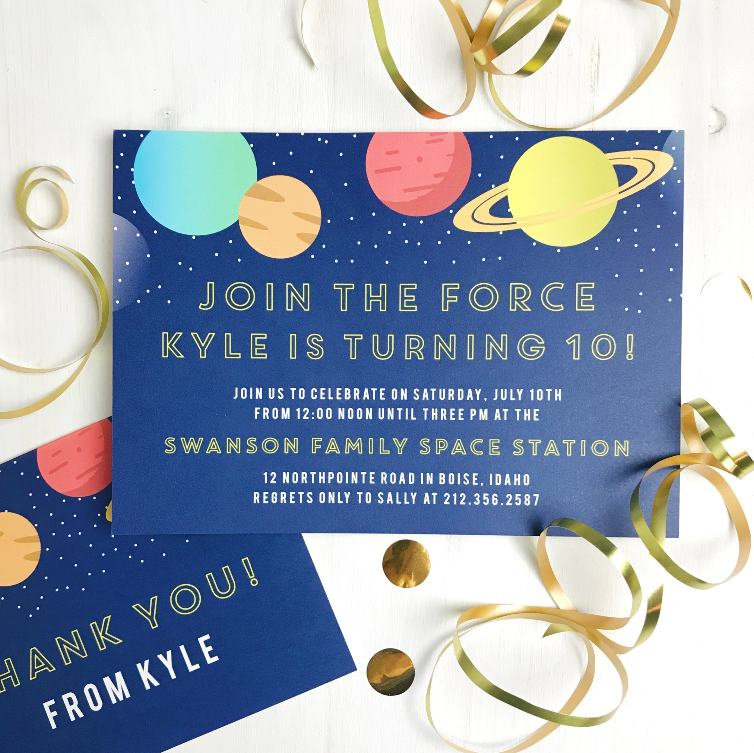 """The """" Join the Forces Children's Space Birthday Party Invitations """""""