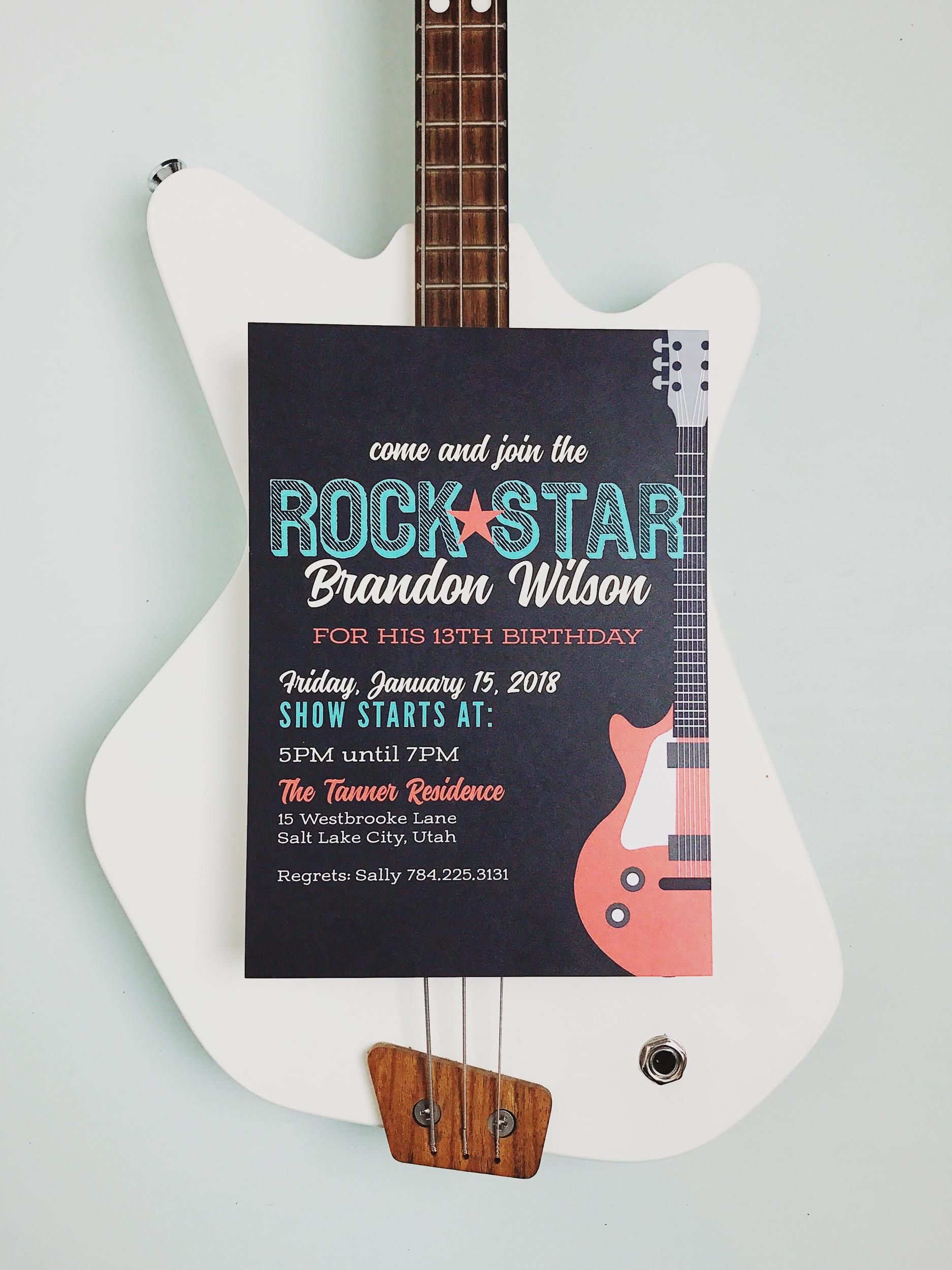 "The "" Rock Star Children's Birthday Party Invitations """