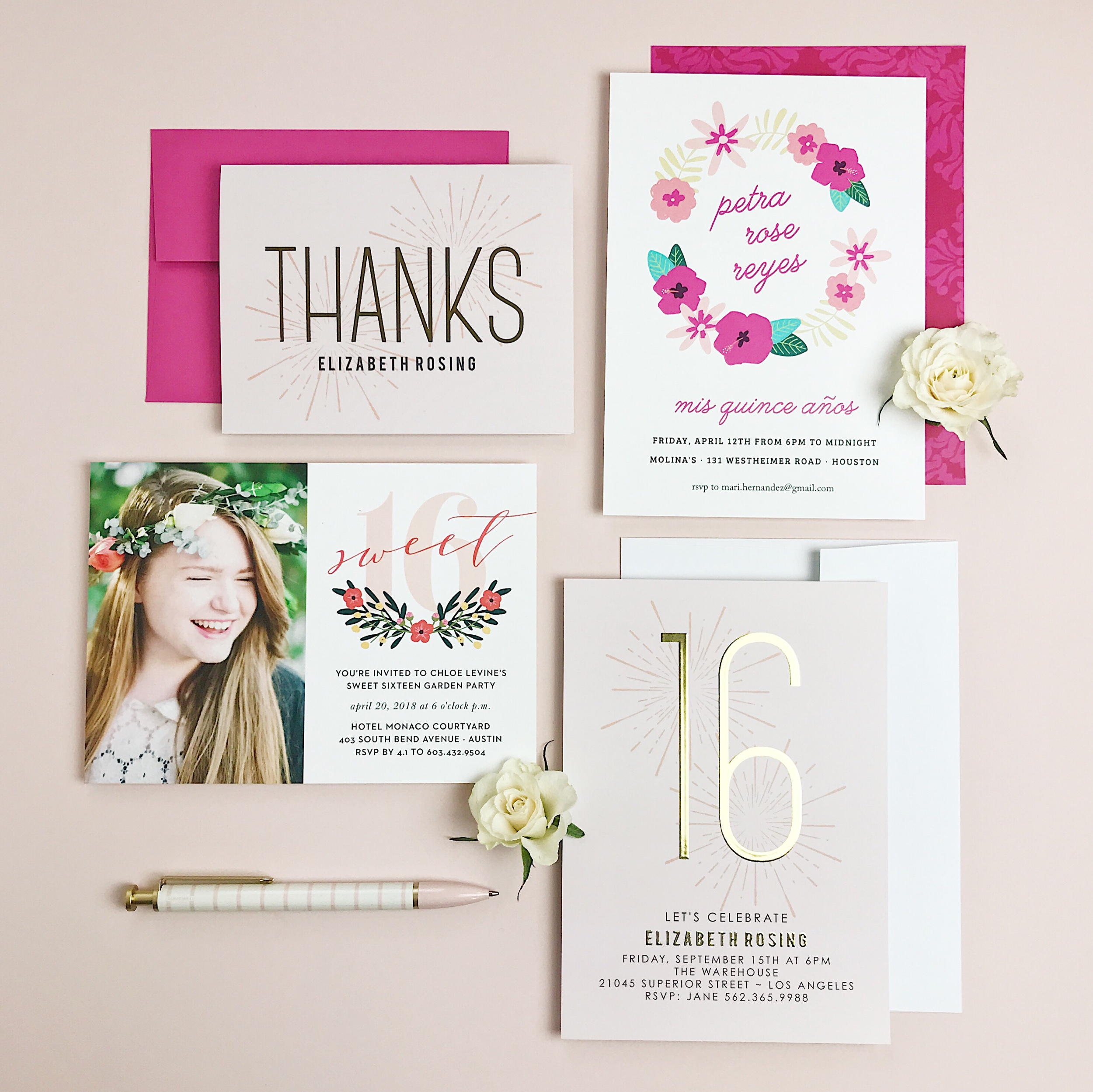 """The """" Sweet Sparkler Foil Sweet Sixteen Thank You Cards """", """" Painted Flowers Quinceanera Party Invitations """" """" Festive Floral Sweet Sixteen Party Invitations """", and """" Sweet Sparkler Foil Sweet Sixteen Party Invitations """""""