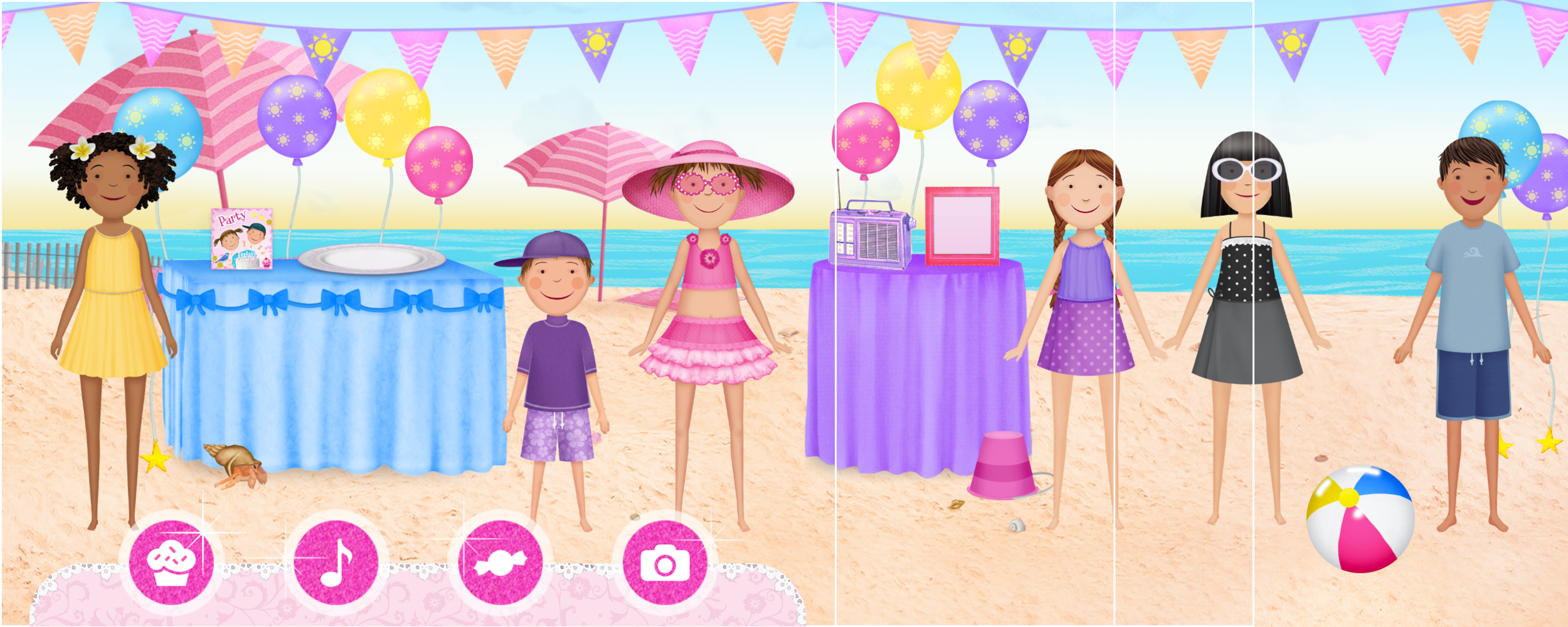 Party at the beach scene comp (white lines indicate screen sizes)