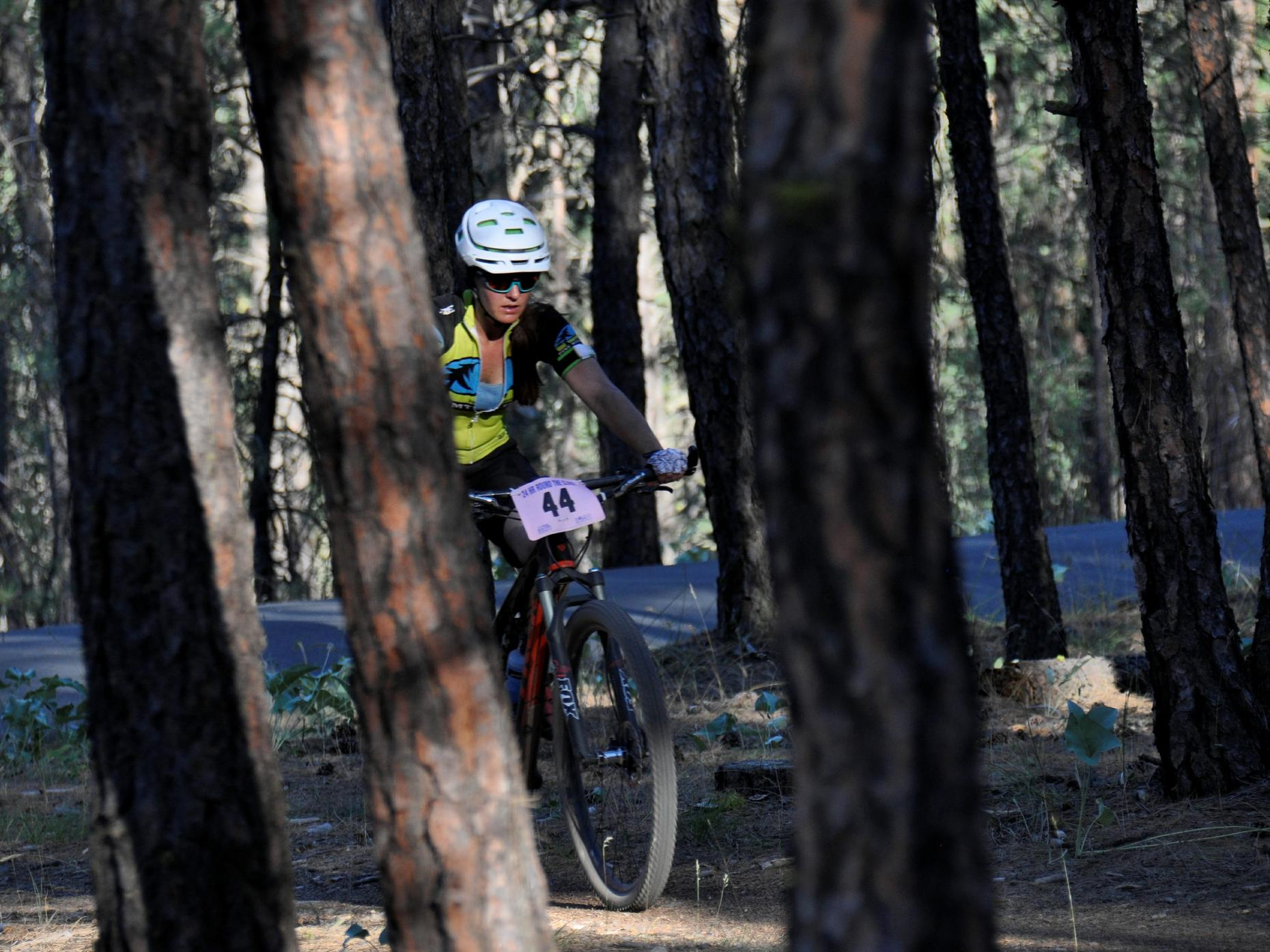 A rider follows single track through the ponderosa pines during the 24 Hours Round the Clock mountain bike race on May 23, 2015, at Riverside State Park. (Photo Courtesy of Rich Landers)
