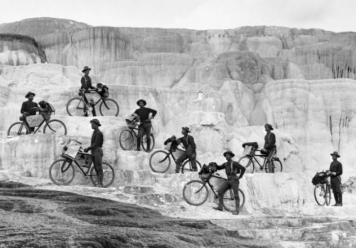 Lt. James A. Moss's company of 25th Infantry, U. S. Army Bicycle Corps, from Fort Missoula, Montana. on   MINERVA TERRACE, October 7, 1896