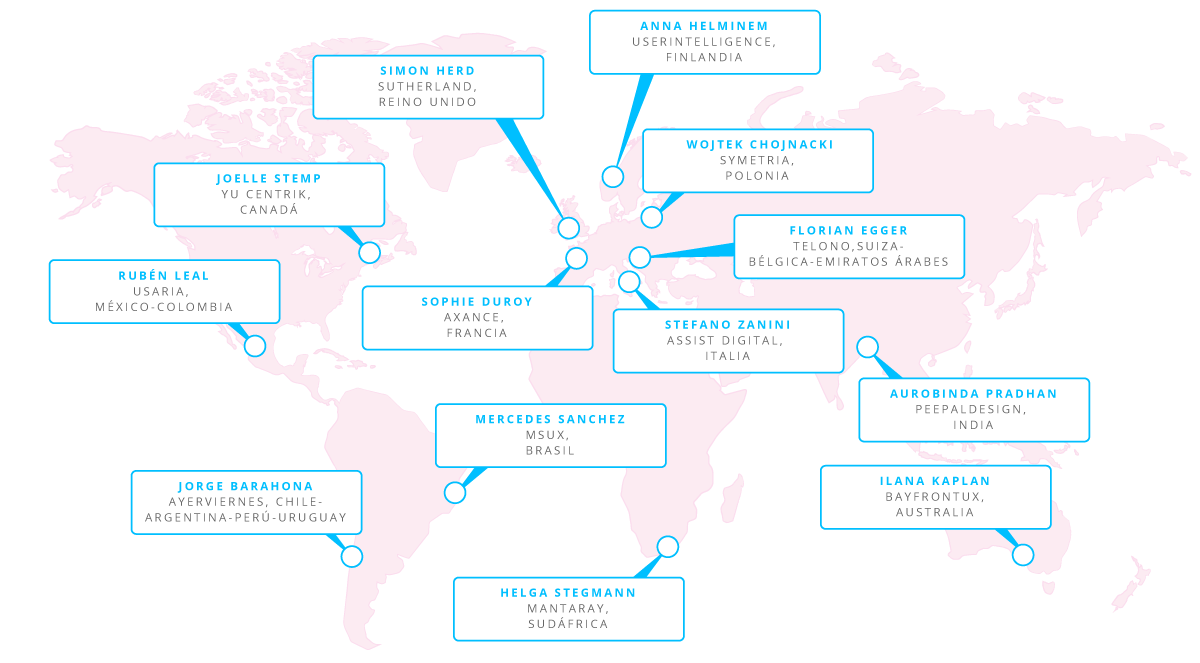 Red de Instructores Profesionales Certificados de la UXAlliance en todo el mundo.