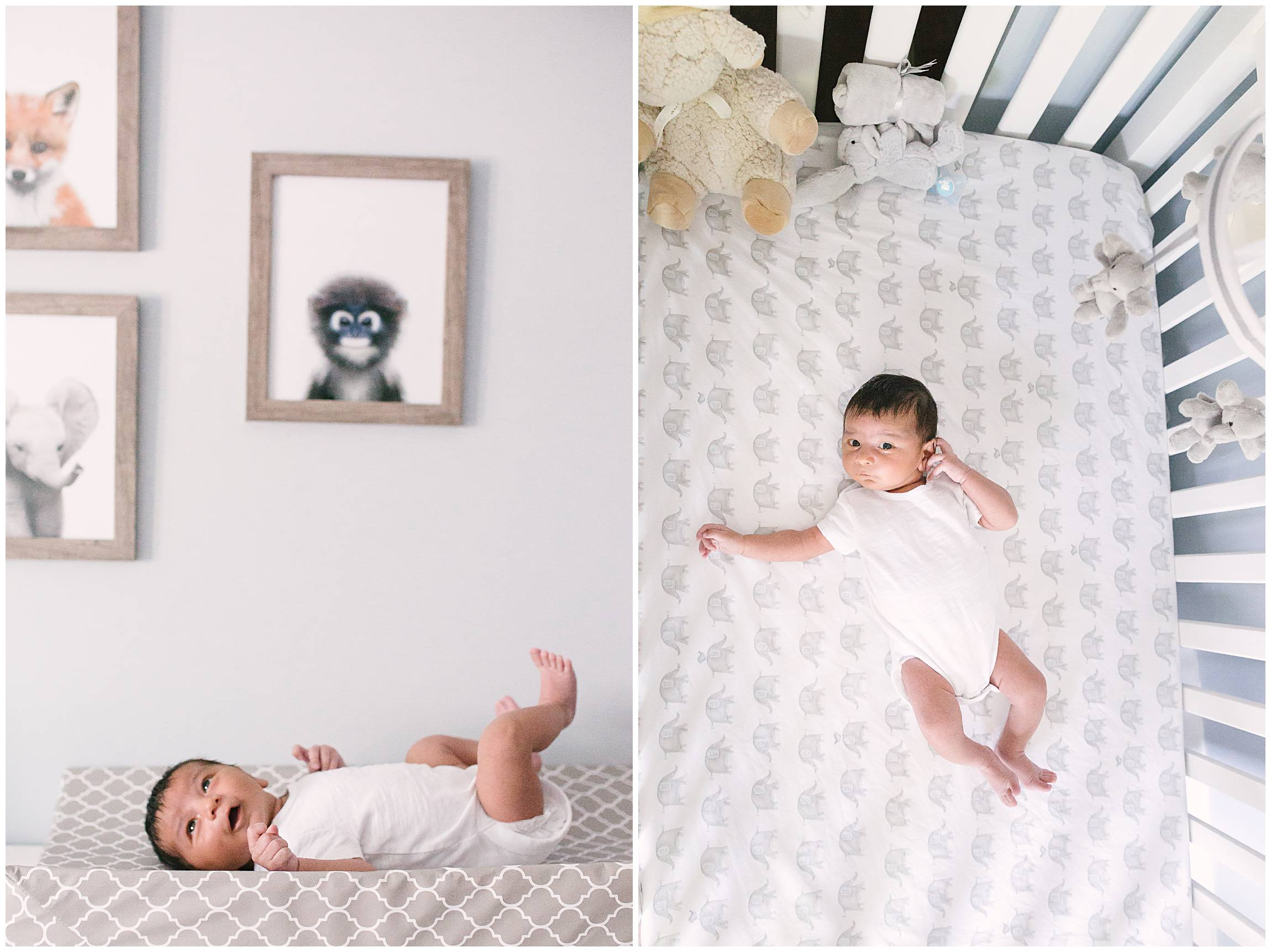 Candid baby in-home in modern crib Beach Toronto