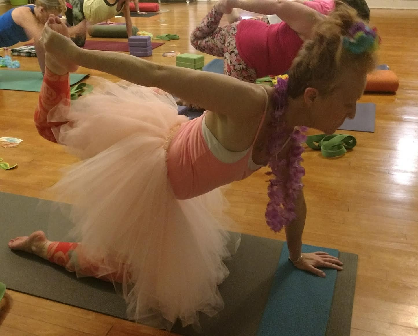 Finding time for yoga is high priority for Julia (Tutu included)