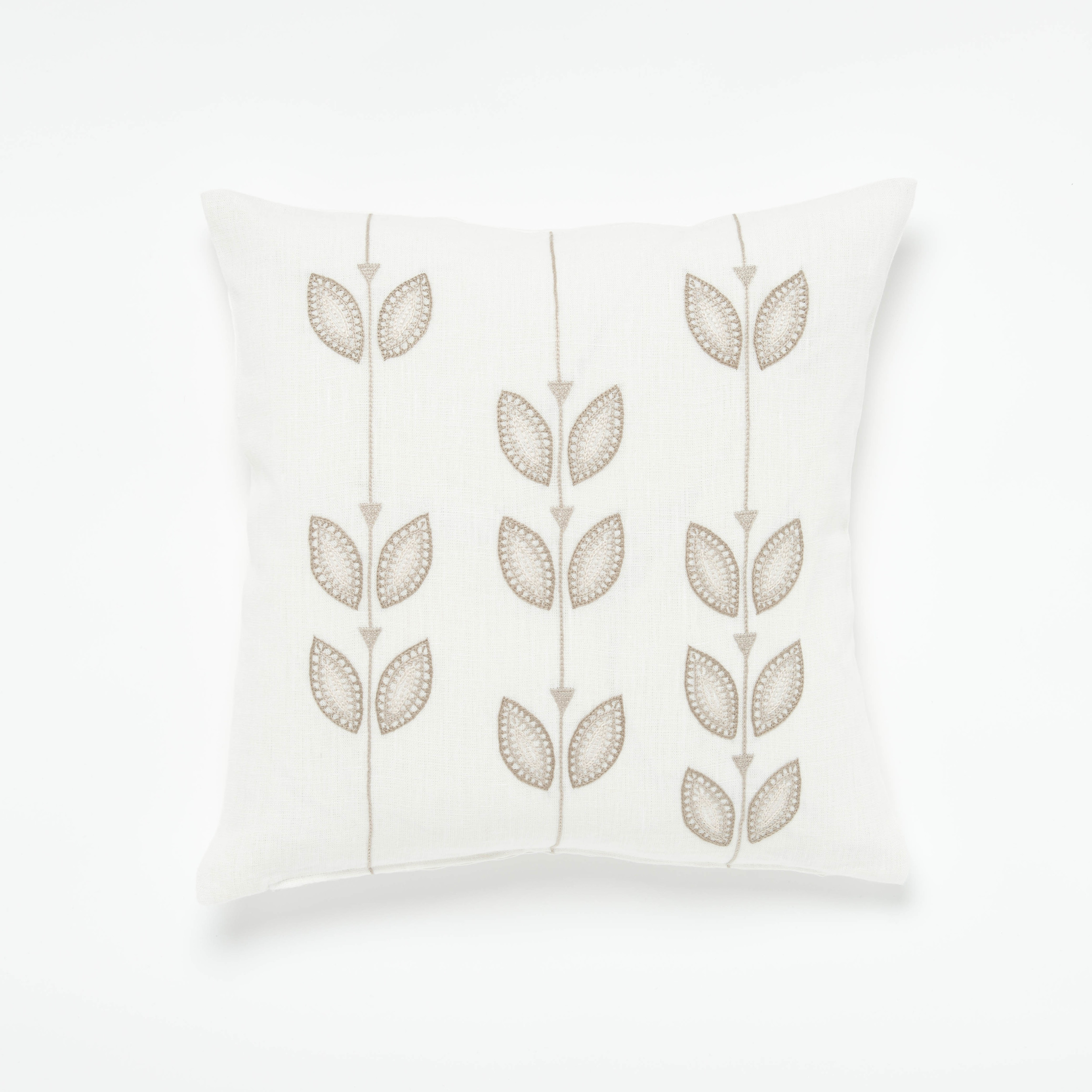 The Beige Petal Row Cushion Cover - Cotton Hand Embroidery on 100% Linen - 45cm x 45cm - CHF 85