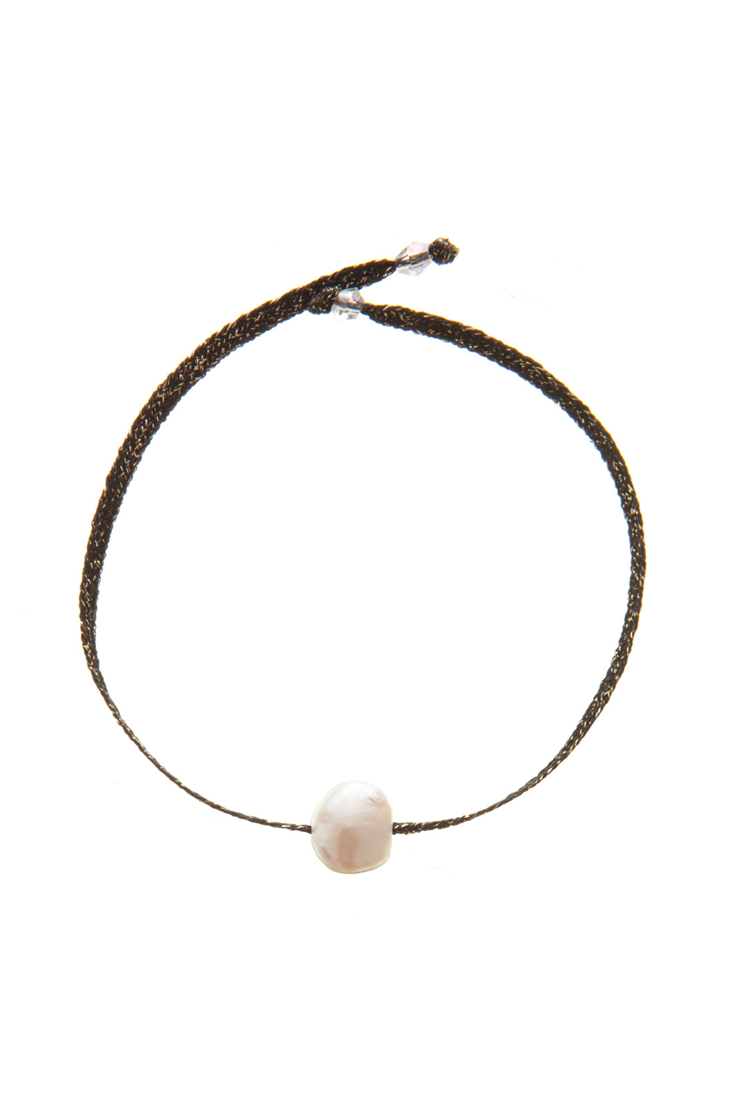 Cowboy Black and Gold -Cultured pearl mounted on a black and gold ribbon woven with an authentic 18k gold thread.Size of pearl : 8-9 mm -CHF80