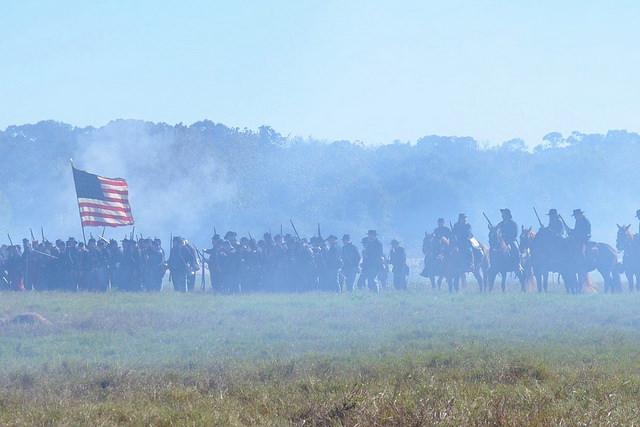 Union soldiers in Civil War re-enactment. Liendo Plantation, TX