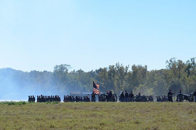 Union soldiers in a Civil War Re-enactment. Liendo Plantation, TX