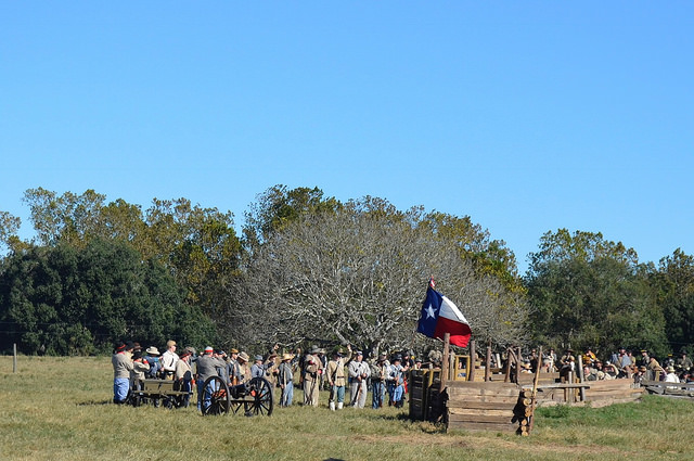Confederate soldiers in Civil War re-enactment. Liendo Plantation, TX