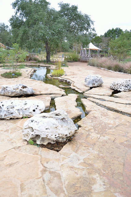 Miniature limestone creek at the Ladybird Johnson Wildflower Center. Austin, TX