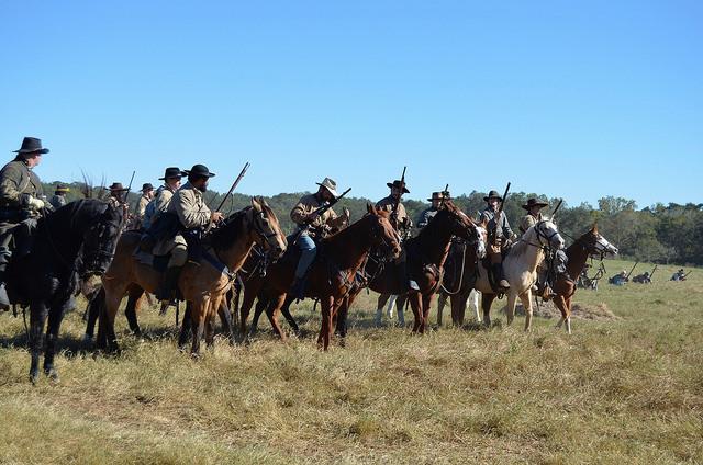 Confederate soldiers in a Civil War re-enactment. Liendo Plantation, TX