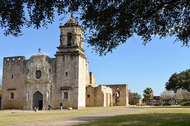 The church at Mission San Jose with one of the entrance gates in the background.